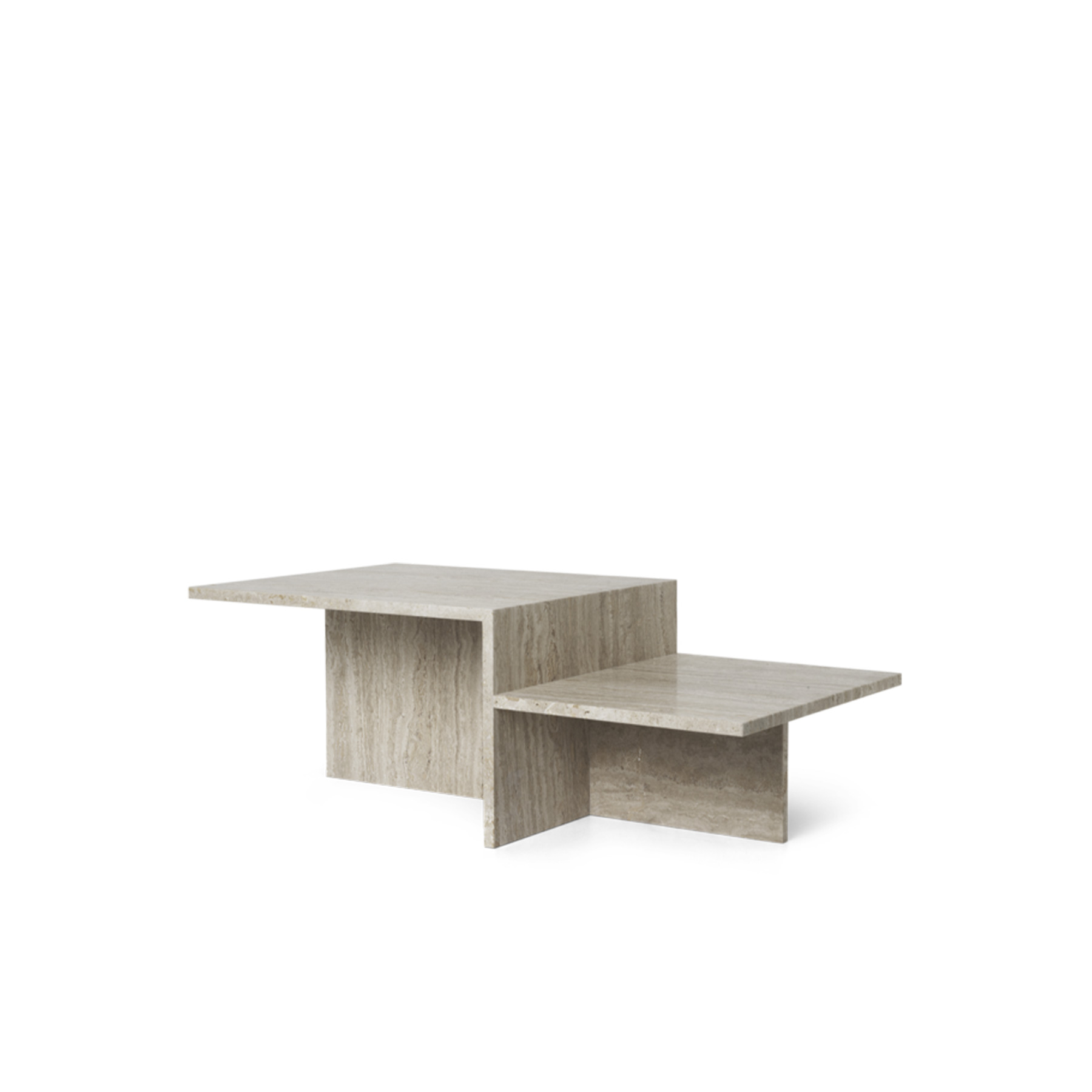 Distinct Coffee Table - Originally inspired by Japanese minimalism, the Distinct Coffee Table explores the creation of complex structures based on a single element. The minimalist construction creates a contrast to the richness of the travertine's earthy textures. With the natural and diverse qualities of the sand-coloured limestone, it provides rawness and tangibility that highlight the architectural character of the furniture piece.  | Matter of Stuff