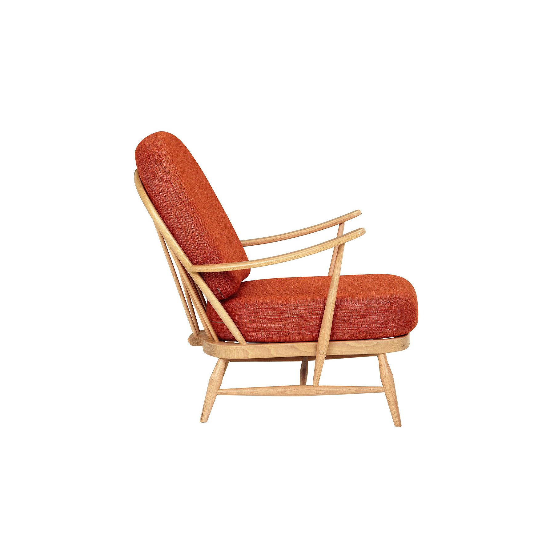 Originals Easy Chair - <p>The Ercol Originals are pieces of timeless and classic design that never date or show their age. It is furniture that is as relevant and as functional now as it was when it was created in the 1950s and 1960s. This furniture was designed by Ercol's founder, Lucian Ercolani, who drew for his inspiration on the time-proven local design and craft in the Chiltern Hills around where he lived and built his first factory in 1920 in High Wycombe. Using the strength of beech and the beauty of elm he carried this definition on into a huge variety of dining, kitchen, and school chairs and then extended the idiom into the low easy chair range epitomised by the 206 armchair and the studio couch. The beauty of the colour and the grain of the elm took Lucian on to use elm for the tables and cabinets of the Originals and the following Windsor range. Part of the ercol Originals range, this compact occasional Easy chair comprises a traditional steam-bent frame, with turned spindles and a distinctive arch back. The foam seat and back cushions provide a comfortable and supportive sit. Rubberised webbing at the base of the armchair provides extra support. Wooden legs taper down from the frame in keeping with the Windsor style of this chair. This furniture can be selected in a range of colours and finishes and bespoke colouration is available on project orders over a certain quantity.</p>  | Matter of Stuff