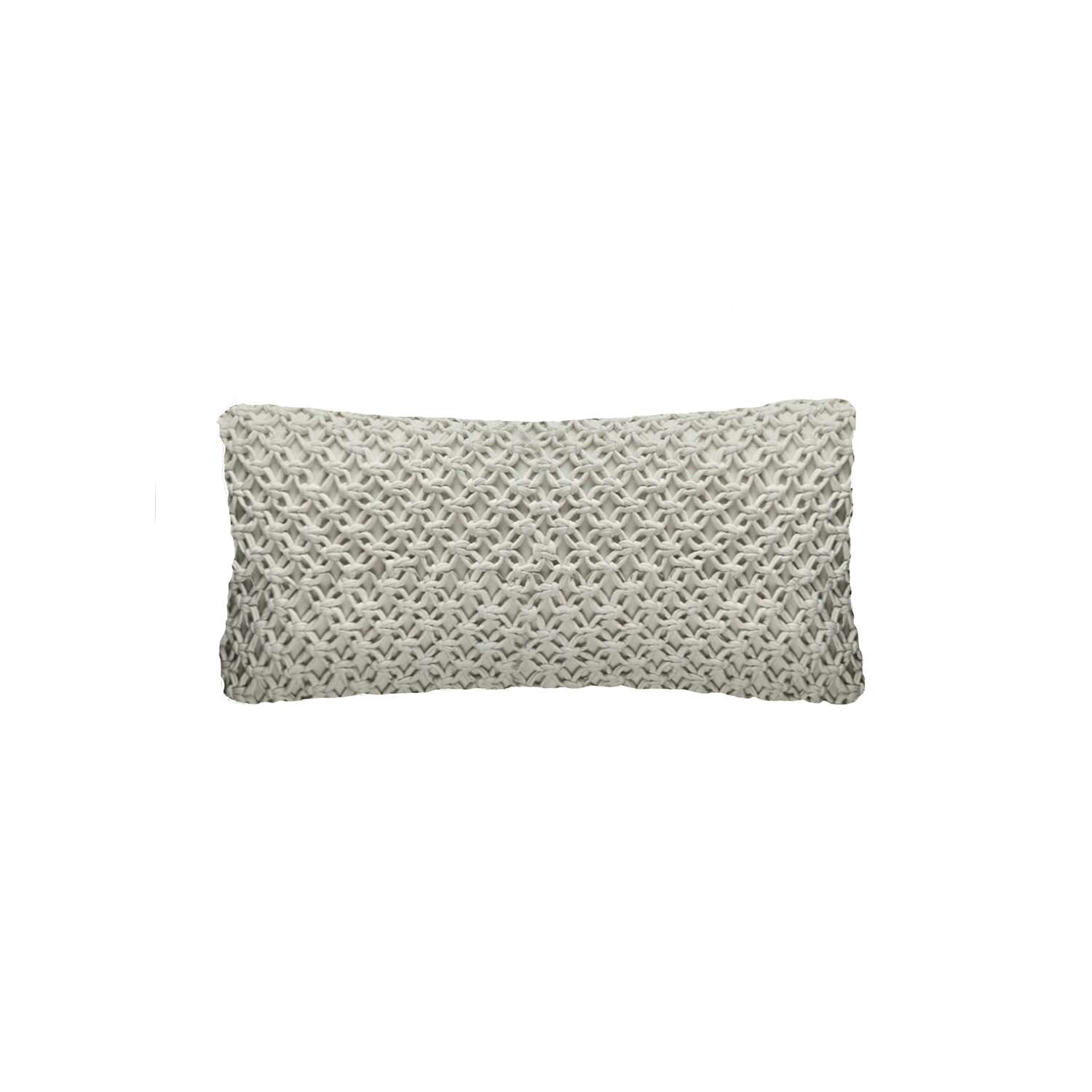 Macrame Knitted Cotton Cushion Small - The Macrame Line is carefully knitted within a trained community of women that found in their craft a way to provide for their families, each one of these cushions and throws is unique.  Elisa Atheniense Home soft indoors collection is made with natural cotton fibres, eco-friendly, handwoven or elaborated using traditional hand-loom techniques. The use of organic materials brings softness and comfort to the space. This collection combines their mission for responsible sourcing and manufacturing.  The hand woven cotton, washable cushion cover is made in Brazil and the inner cushion is made in the UK. All cushions come with Hollow Fibre filling. European Duck Feathers are optional upon request at an extra cost. Please enquire for more information and see colour chart for reference.   | Matter of Stuff