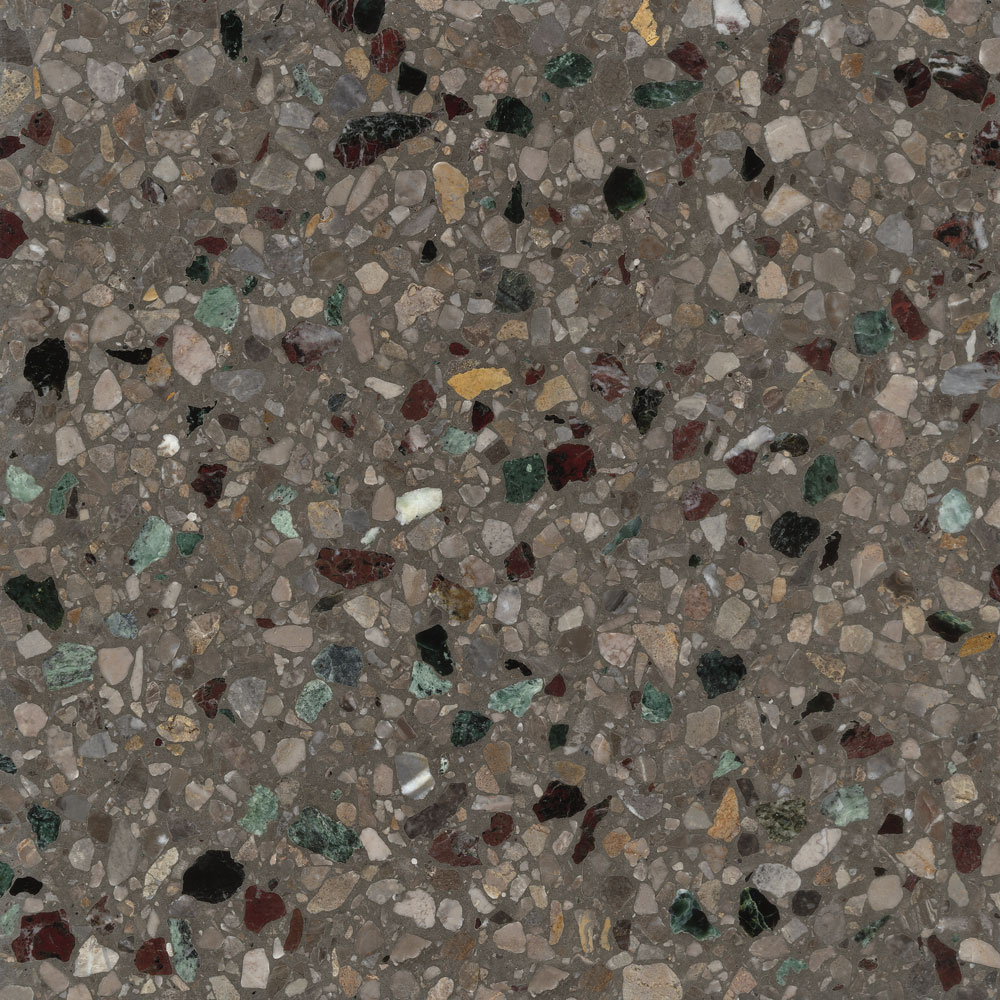 Prestige - Terrazzo graniglia tiles made through sustainable processes and recyclable. This graniglia is indeed composed of natural recycled raw materials, 80% of which originates from the processing of precious Italian marble.