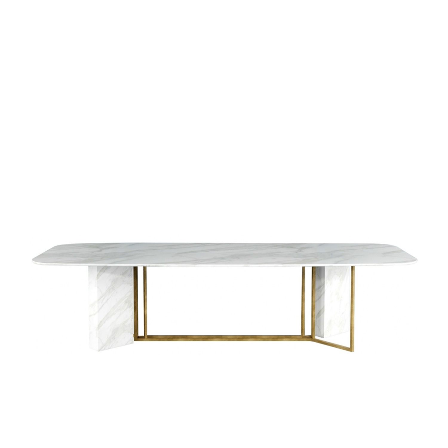 Plinto Rectangular Large Dining Table - Dining tables with metal base with plinth. Tops in different models and dimensions. Finishes for metal base - black varnishes - bronzed brass Finishes for plinth - wood veneer - matt or glossy lacquer - marble Finishes for tops - wood veneer - matt or glossy lacquer - marble | Matter of Stuff