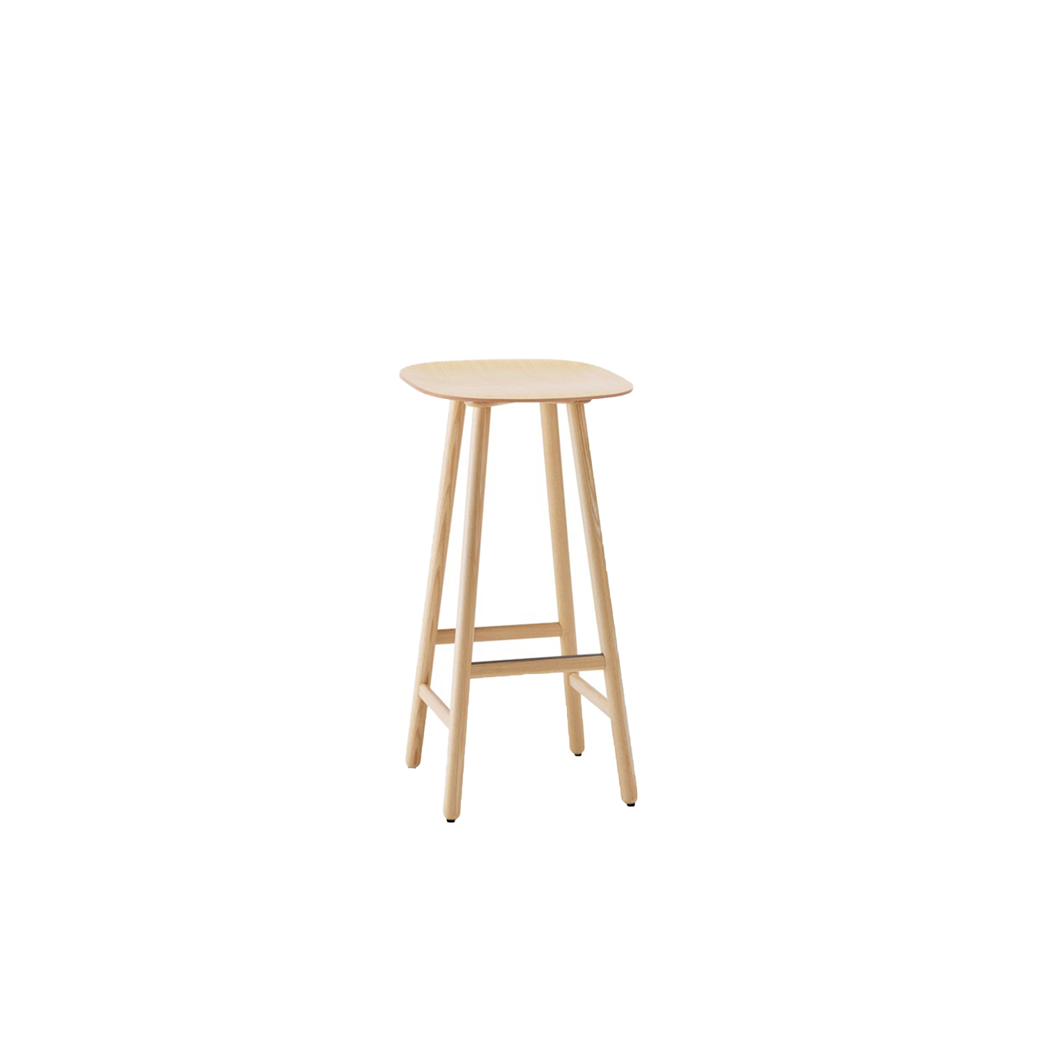 Shell Low Barstool - Shell stool (2015) has the clean lines and innovative combination of materials that are the signature features of Scandinavian design. Like a chair, Shell has a back and front, with a hint of an upward slope at the rear and a gently rounded front edge for enhanced comfort while seated. Available in solid oak, birch, ash, standard colors, standard stains on ash and white glazed oak or ash. Shell comes in a choice of three heights 450, 650 and 800 mm.  Choose a wooden seat or one upholstered in fabric or leather. The footrest of high stool has a stainless steel footrest protector.  The stool is available with cushion with a leather or fabric cover at an extra cost. Please enquire for more details. | Matter of Stuff