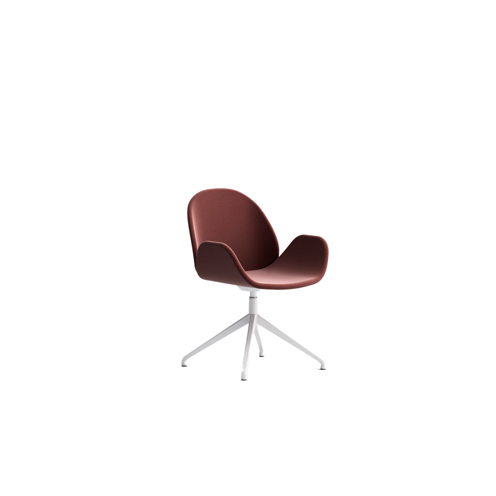 Rose Swivel Armchair - Rose Swivel Armchair consists of two plywood petals covered in fabric, faux or genuine leather fitting snugly atop a lacquered metal base. | Matter of Stuff