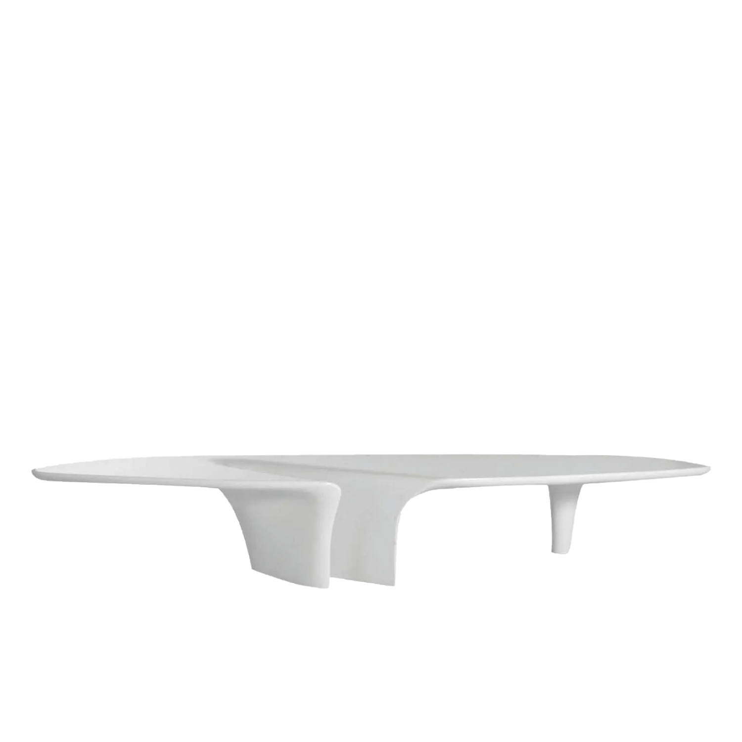 Waterfall Coffee Table - Even a coffee table can become a piece of art if it can stand regardless of the typological limitations. Fredrikson Stallard address the issue with the strength of the material to be bent and shaped. The result is a completely new form, marked by an important, and expressionistic, depression in the center of the top. | Matter of Stuff