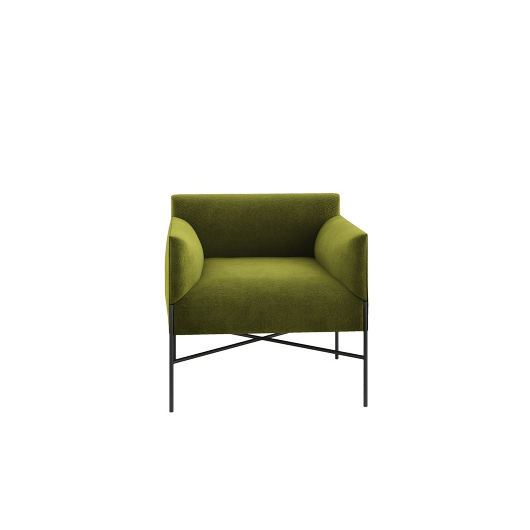 Chill-Out Lounge Armchair with Armrests - Chill-Out is a system of sofas and armchairs that can stand alone or create a vast range of different linear or corner compositions.‎ It features a light, slim base and cosy, comfortable cushioning, to which back and armrests can be added.‎ An ideal combination both for domestic and collective spaces, particularly in the version with a built-in coffee table.‎