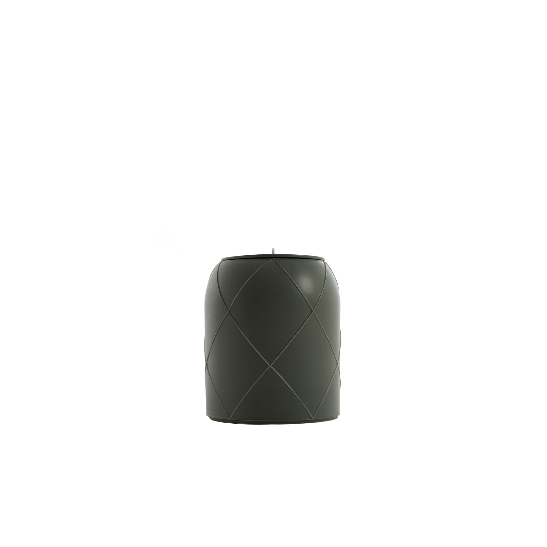 Canisters Vase With Lid C - Vase with lid C. Cast in white clay. Matt grey glaze. This modern ceramic vase will create a colourful and refined display in a modern kitchen or living room. Crafted of white clay with the slip casting technique, the cylindrical silhouette is decorated with a raised crisscross pattern finished in a matte grey-green glaze. This vase is part of the Seams Collection by designer Benjamin Hubert, who transformed the lines created by the slip casting moulds onto the surface of the clay into decorative details. The mould components are rotated in various positions to create different geometric patterns with every moulding. The lid has a demi-lune handle.