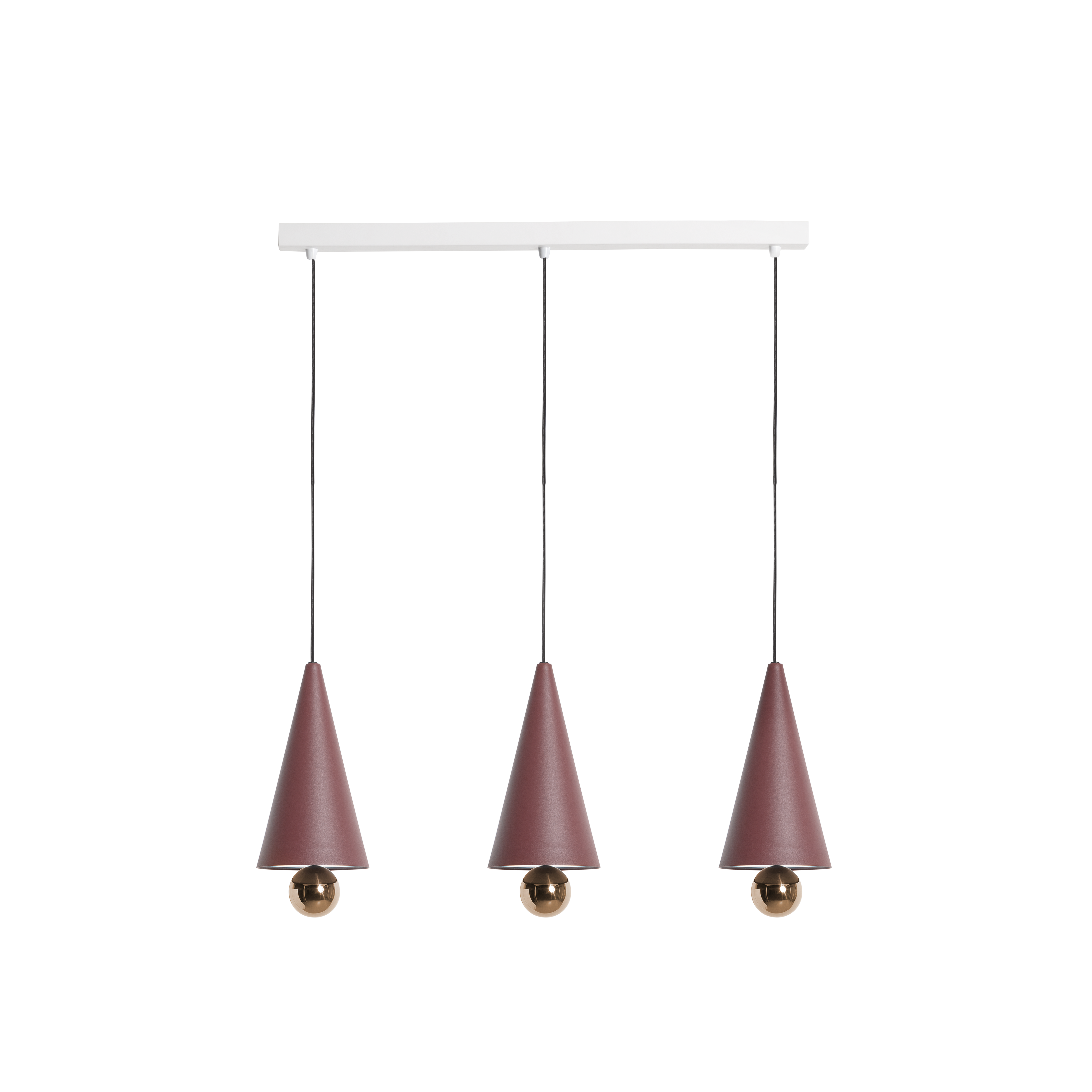"""Cherry Pendant System Linear S - The duo of Australian designers DANIEL and EMMA has created CHERRY a simple and minimal suspension - an aluminium cone sub-mounted with a sphere - and manages to create a subtle ratio of light between the diffuser and the ball at the finish shimmering.  """"The CHERRY suspensions refer to our child's soul: to the gums we collected and more obviously to the ice cream cone with the cherry at the top that we loved so much."""" DANIEL and EMMA 