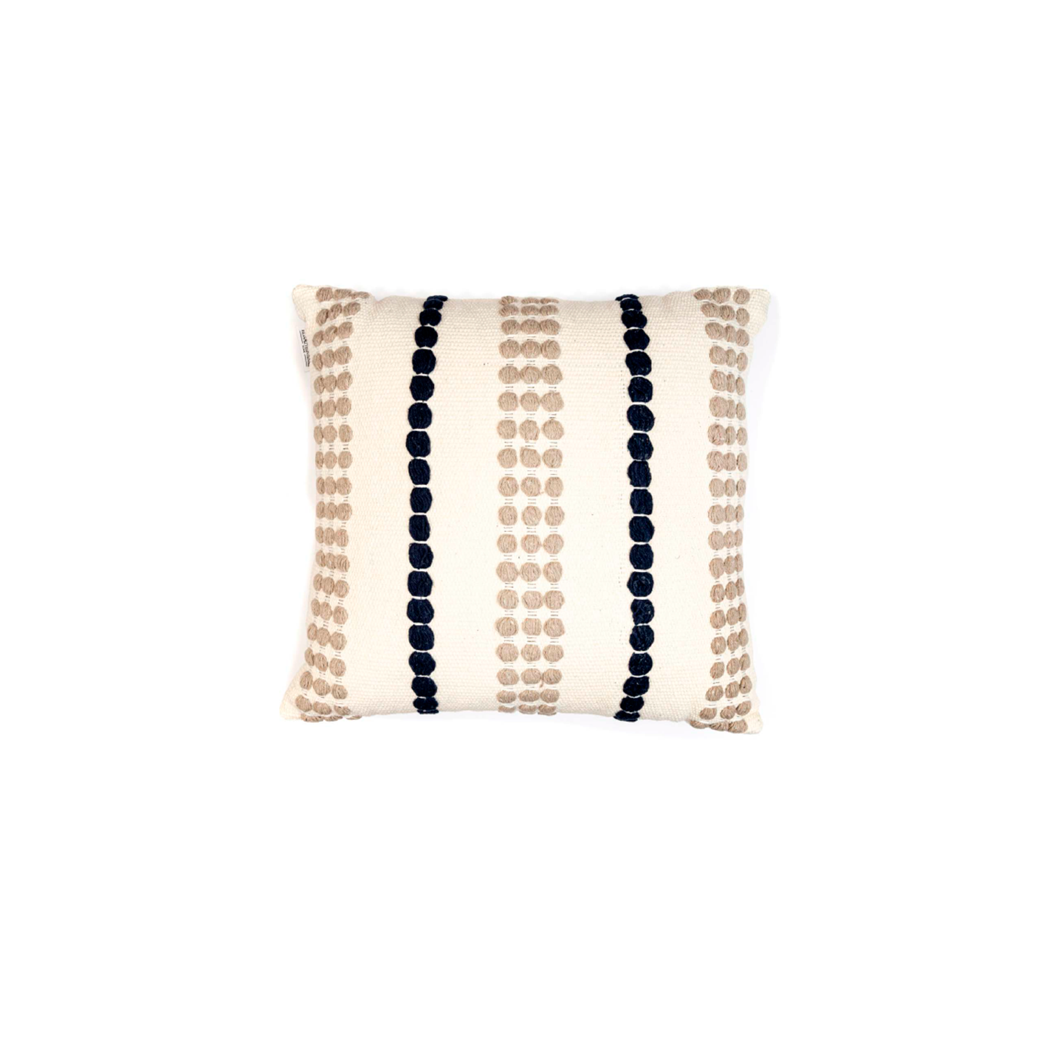 Lua Branca Cotton Cushion Square - The Flame Sustainable Collection is made from a selection of organic cotton fibres, eco-friendly, hand-woven or elaborated using traditional hand-loom techniques. Carefully knitted within a trained community of women that found in their craft a way to provide their families.  This collection combines Elisa Atheniense mission for responsible sourcing and manufacturing. Each piece is meticulously hand-loom by artisans who practised methods with age-old techniques. With a minimal electricity impact, each item crafted is therefore unique and exclusive. Weavers and artisans are the ultimate lifelines of Elisa Atheniense Home Products.  The hand woven cotton, washable cushion cover is made in Brazil and the inner cushion is made in the UK.   | Matter of Stuff