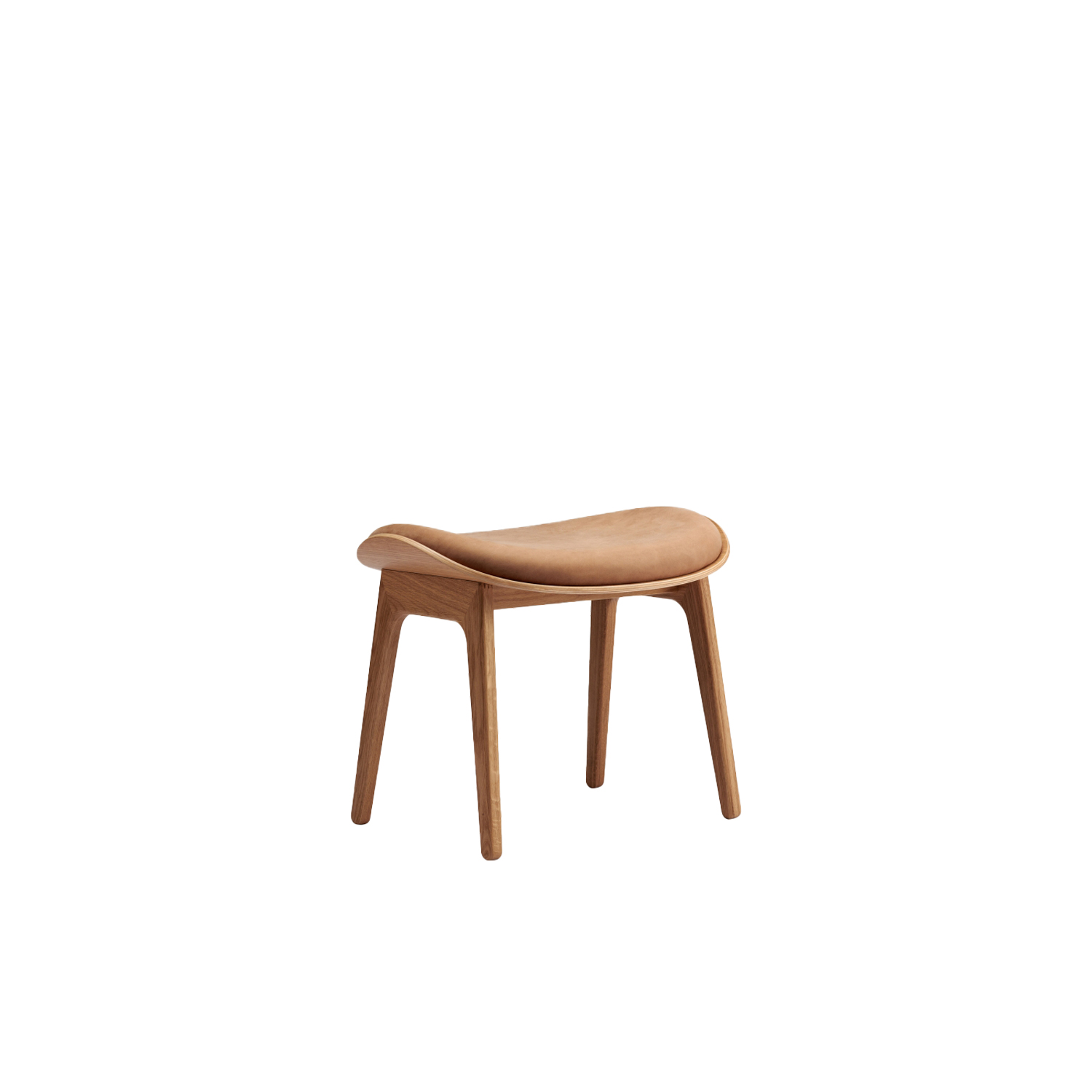 Elephant Lounge Stool Upholstered - Elephant Stool is a minimal piece of furniture, based on the signature aesthetics of the Elephant Chair. The stool suits a wide range of purposes, functioning both as a footrest for the Elephant Chair and as a lounge stool on its own.  Elephant Stool comes with a seat of moulded oak veneer, resting on a wooden base of massive oak. The stool is available without upholstery as well as with different upholstery options. | Matter of Stuff