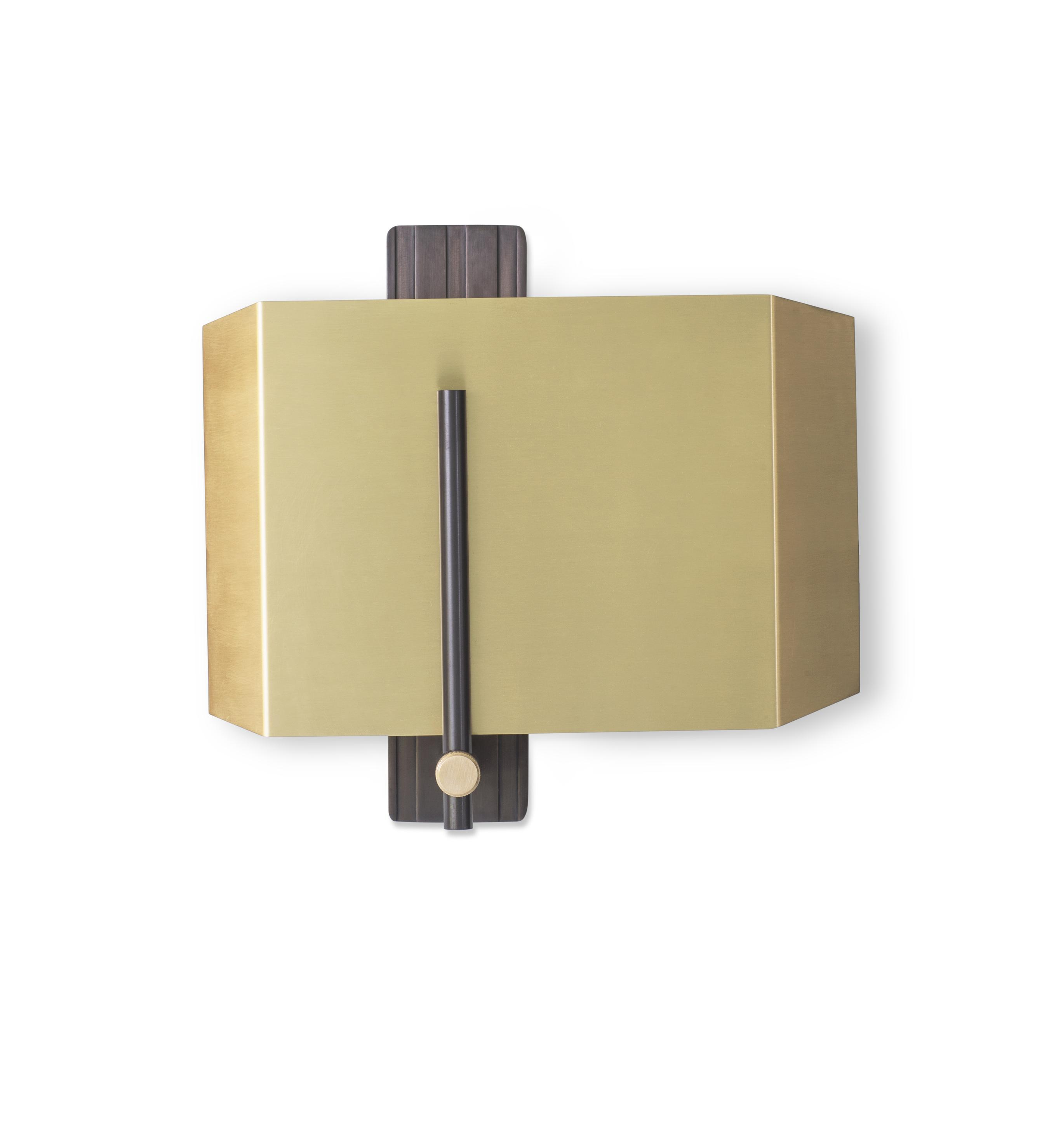 Aegis Wall Light - Machined almost entirely from solid brass or copper, this geometric light offers contrasts in materials and textures to create a bold statement.  The Aegis Wall Light is available in both right and left hand versions so it can be styled as opposing pairs.    | Matter of Stuff