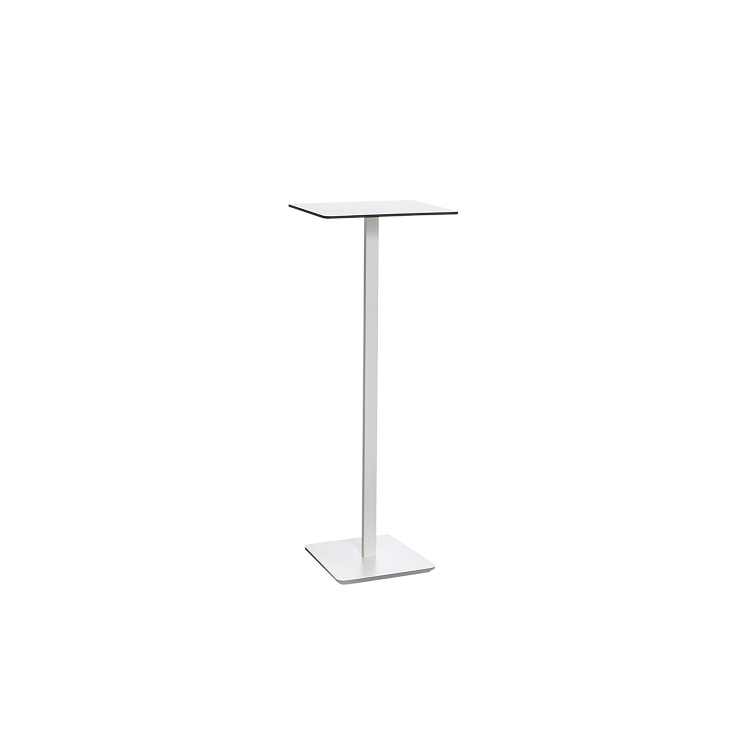 Ponoq Rectangular High Table - In the beginning, ponoq (2009-2010) was a wall mounted coat rack in compact laminate. Our product development led to free-standing clothes hanger with base and pillars, with or without umbrella stands. The pillars and the base-plate made it easy to develop further with a tabletop/base plate in the compact laminate which became a table. The pedestal table ponoq's base-plate can be secured to the floor using a concealed fitting and ideal in environments that are subjected to a lot of hard wear and tear.  Pedestal table comes in seven heights, with rectangular or round tabletops in a choice of sizes. ponoq has a tabletop/base-plate in white or black compact laminate, and supporting pedestals in white or black lacquered metal. ponoq pedestal table is ideal for waiting rooms, corridors, schools, museums, art galleries or wherever furniture needs to cope with a lot of hard wear and tear.  Additional heights and dimensions are available, please see technical sheet attached and enquire for more details. | Matter of Stuff