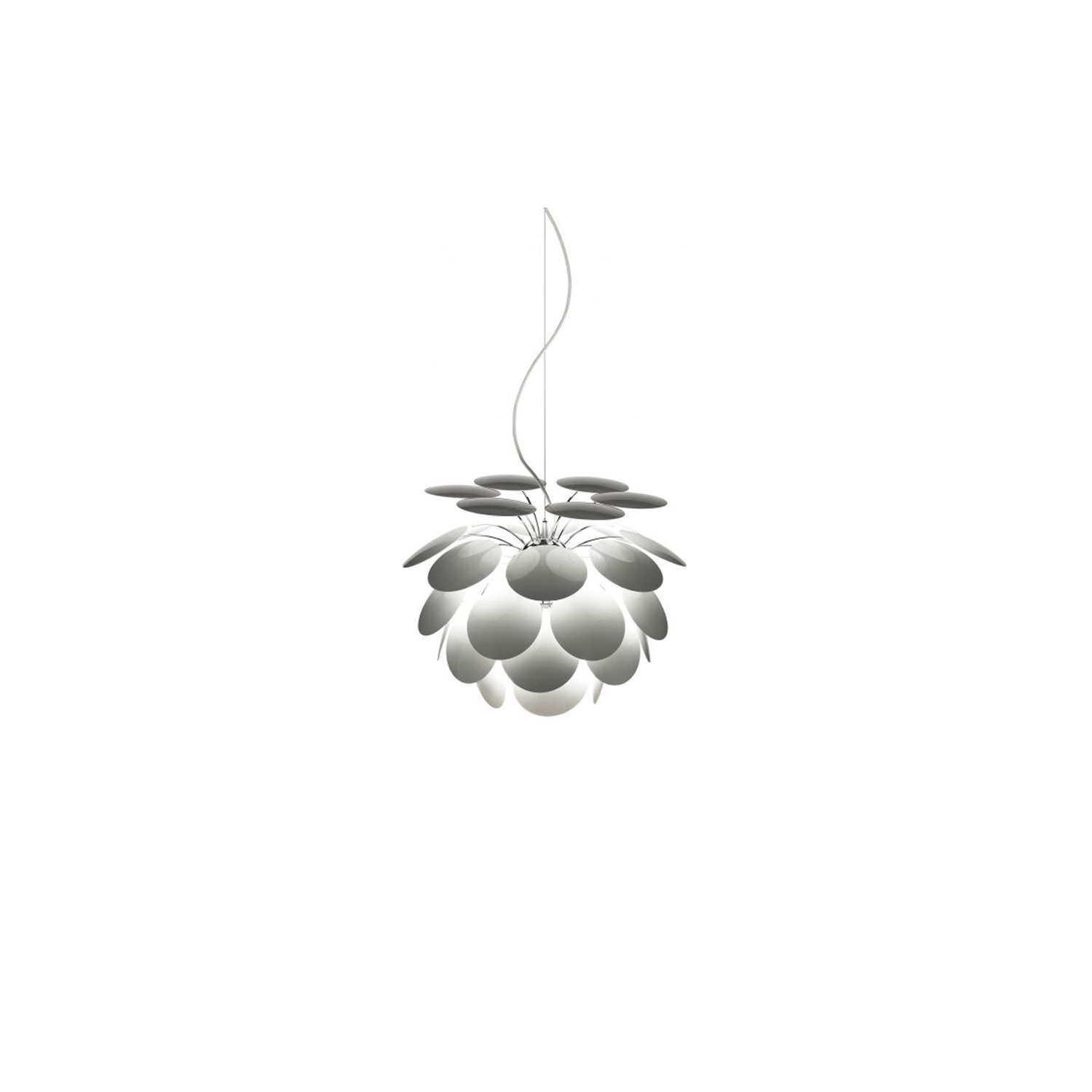 Discoco 132 Pendant Light - Exuberant even when turned off, the richness of the light issuing from the Discocó lamp provides direct downward illumination along with a dramatic play of lights and soft shadows.  Its detailed study of incident light and light that bounces off of both sides of the 35 disks provide the lamp with an appealing gradation of light nuances and depth. Further reflections dance off the chrome-covered sphere at the core, where the disks are anchored.  When the light is turned off, it retains its attractive presence, hinting at the expansion of energy that is fully expressed when it is turned on.  Two new tones, beige and grey, have been added to the existing color range, this time with a matte finish. A new 68 cm diameter is also available, making a total of five sizes to cover a host of applications. | Matter of Stuff