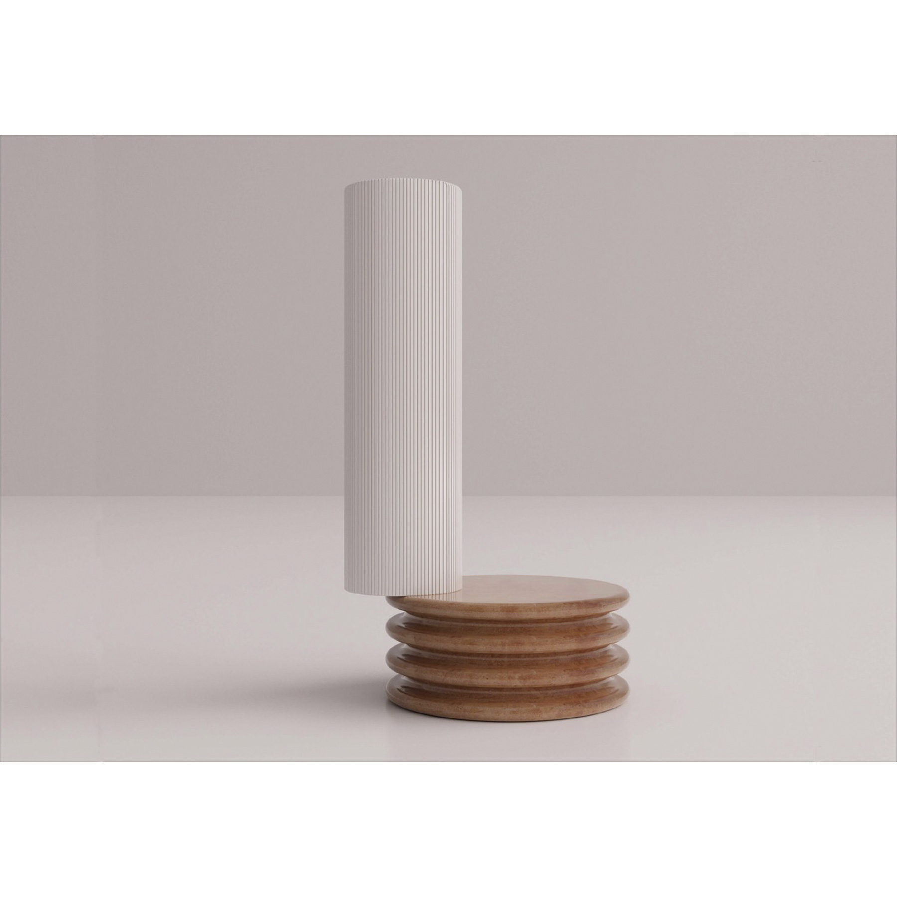 Colonne 2 Element Vase - As asymmetrical as it is elegant, this whimsical vase crafted of first-rate ceramic is part of an exquisite collection presented at the 2019 Milan Design Week. The piece is composed of two cylindrical elements: the painted-white, longer one partially rests on the other that is painted in a delicate hue of terracotta and enlivened by ribbed sides and a flat top.   Matter of Stuff