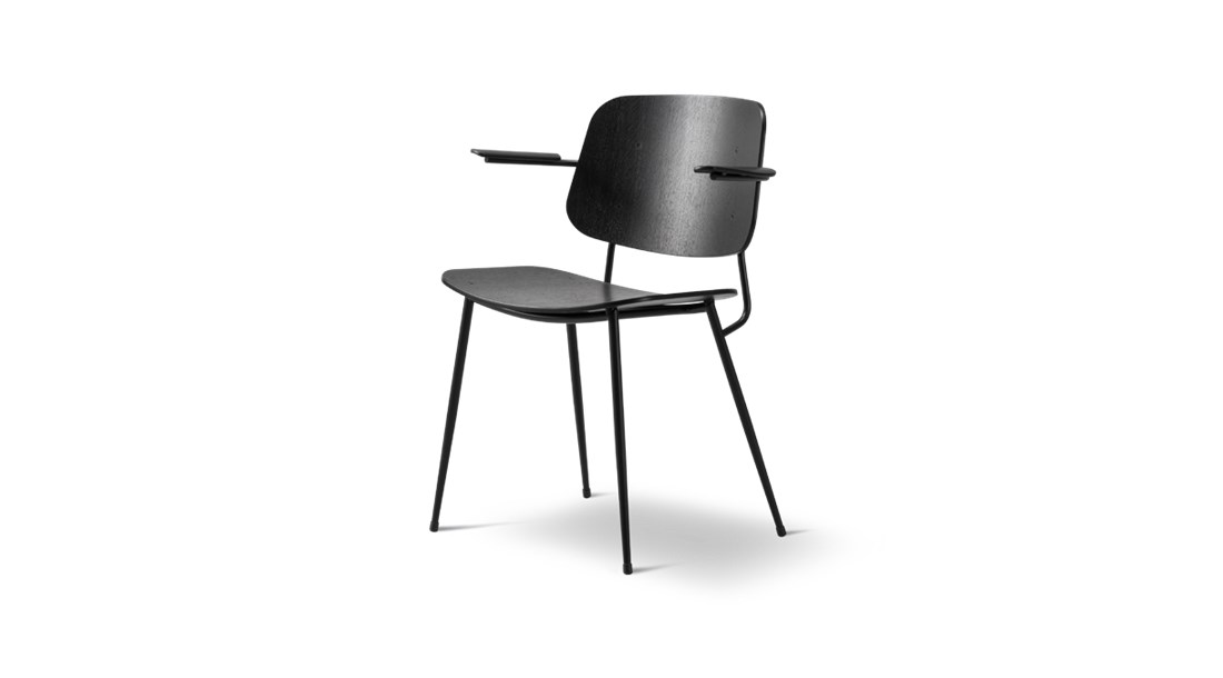 Soborg Metal Base Armchair - In 1952 Mogensen built onto the Søborg series with a steel-framed version, a design that he viewed as a reflection on international modernism. The generous back and seat with optional upholstery provides for many hours of use.