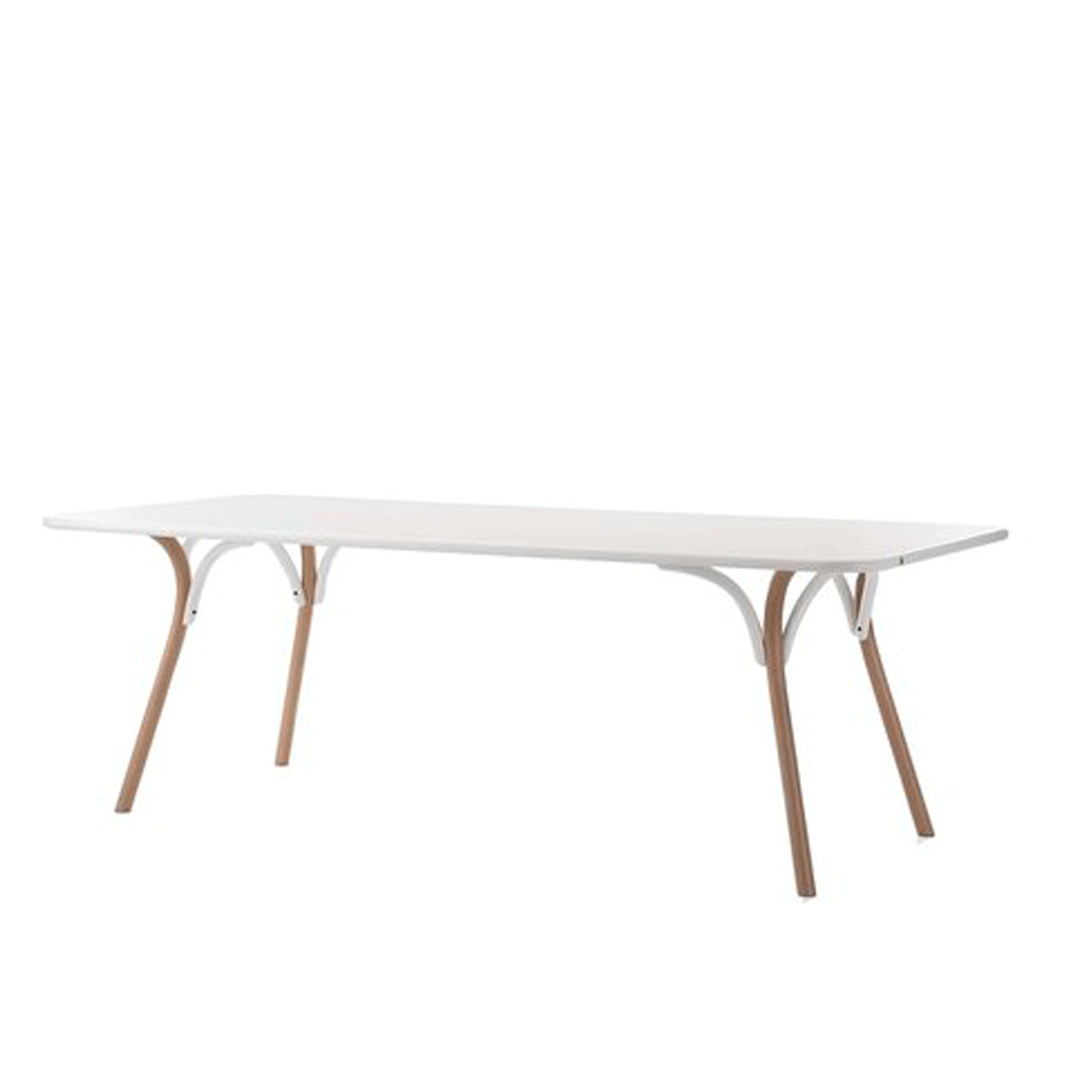 Arch Dining Table - This timeless object of functional decor boasts an elegant colour combination of white and natural wood that adds a cosy and sophisticated touch to a modern or rustic home. The structure of this dining table features slanted legs that curve at the top, connected by delicate arches that give its name to this piece, at its best when surrounded with white-lacquered or natural chairs.