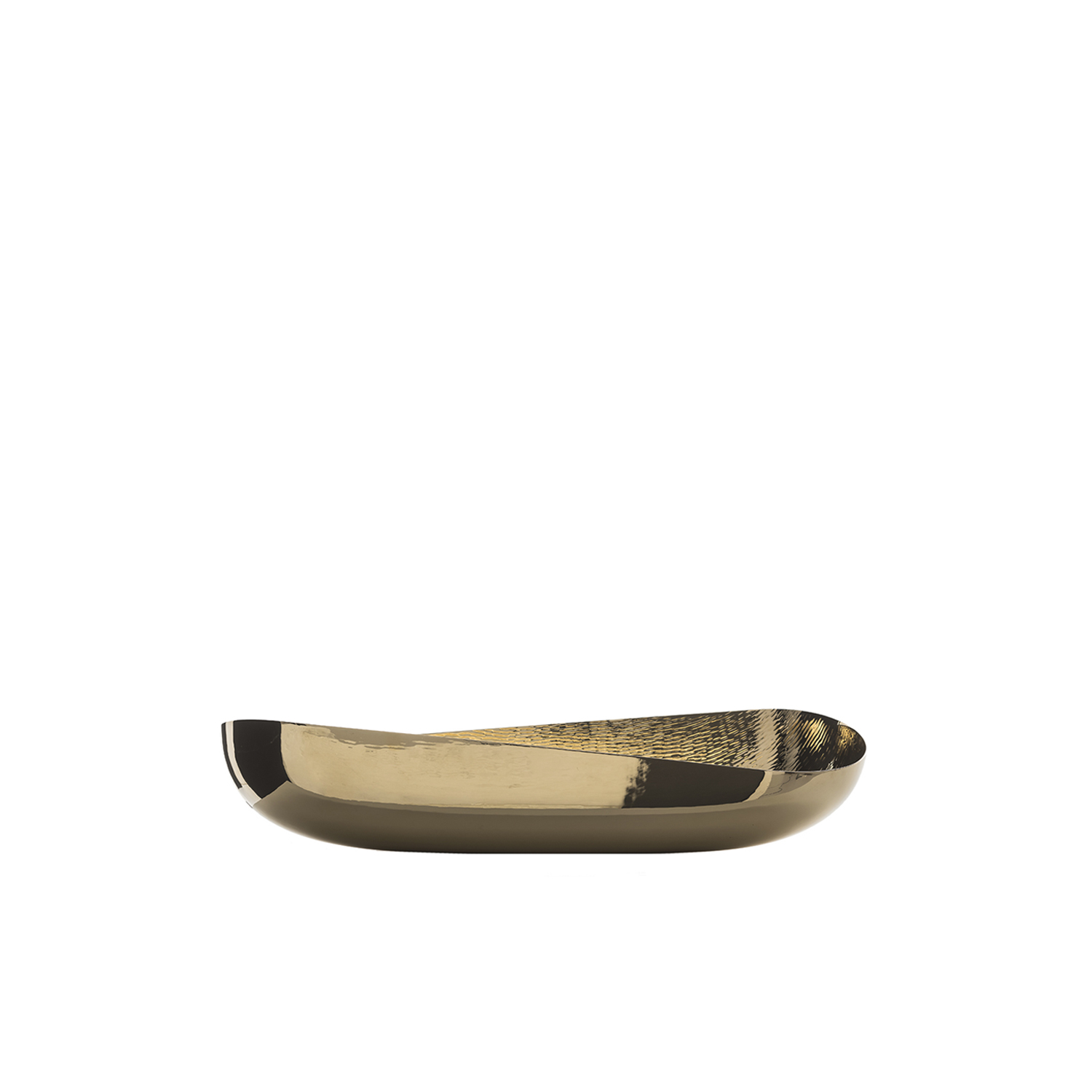Illusioni Bowl - The organic look and feel of this bowl make it a special piece to display in any room in the house to make a sophisticated and elegant statement. Made entirely of brass with a beeswax coating, its elongated, sinuous shape and its generous size give this object of functional decor a versatile quality. Its smooth exterior surface strikingly contrasts with the lightly textured interior for a modern final effect.  | Matter of Stuff