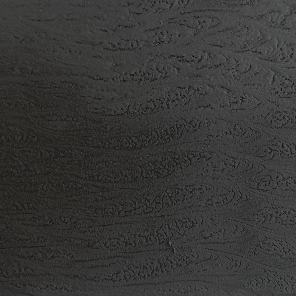 Organic Carbonized Wood - 1k one-component water cycle in imitation of the organic carbonized wood, can be applied on supports made of metal, plastic and wood (through the specific vertical cycles), with exclusively indoor applications. The finishing has an organic, multidimensional and soft to the touch texture. Thanks to the employment of a new technology patented from the CRS Molteni Vernici, the treated surface is solid and completely insulated from cold and hot liquids. Thanks to its easy manual application by spatula and its contained industrial costs, the finishing Organic Carbonized Wood™ can be applied on every kind of support in exclusive for interior employments. | Matter of Stuff