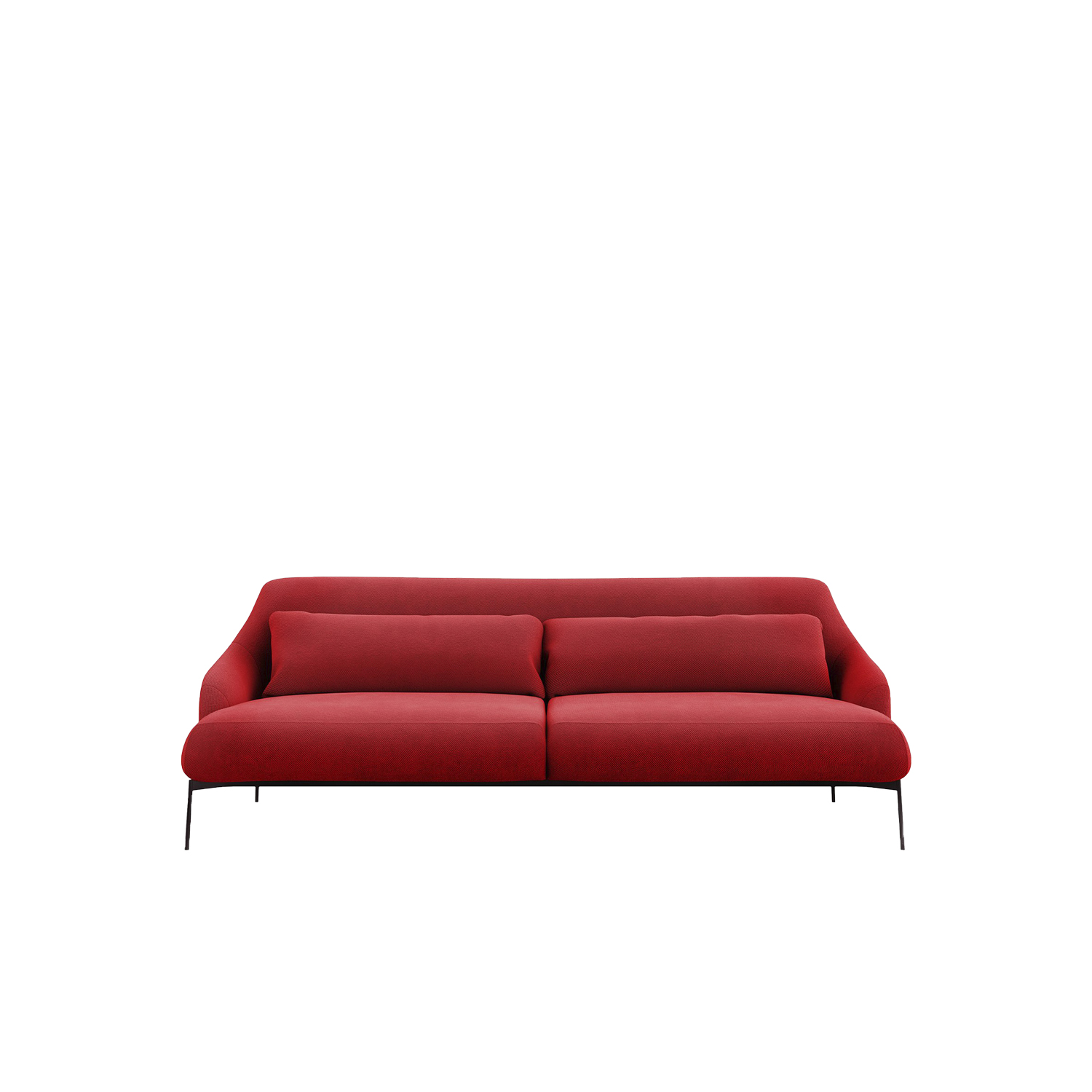 Lima Sofa - A system consisting of sofas and armchairs in different sizes, with a markedly sleek shape to receive the body nicely.‎ Extra comfort is given by the large lumbar supporting cushion on the ample seat.‎ Elegantly thin are the feet at the base of the frame, adding a touch of dynamism to the cosiness.‎