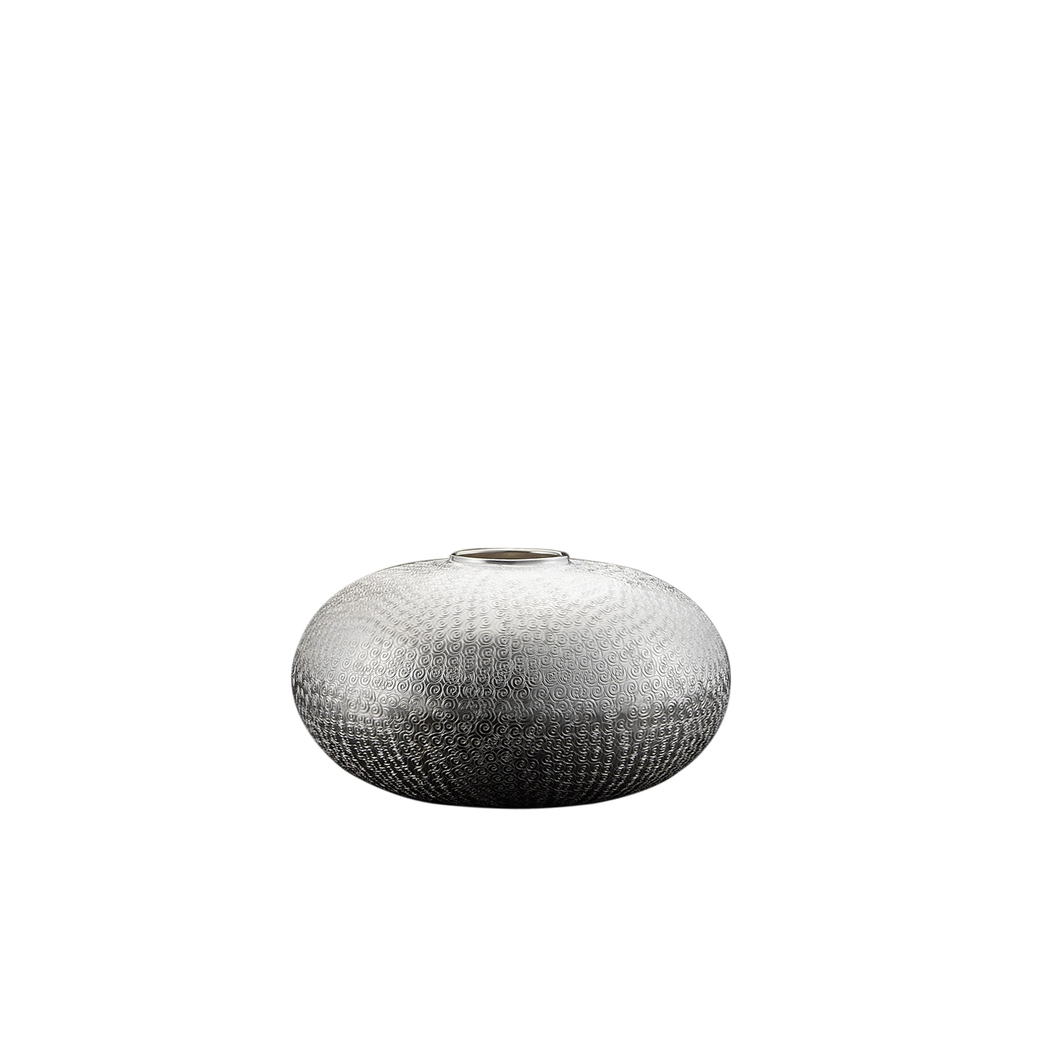 Agadir Vase - This handcrafted silver plated vase takes its inspiration from the heart of Africa. It features a rounded bowl-like silhouette and a narrow lip.