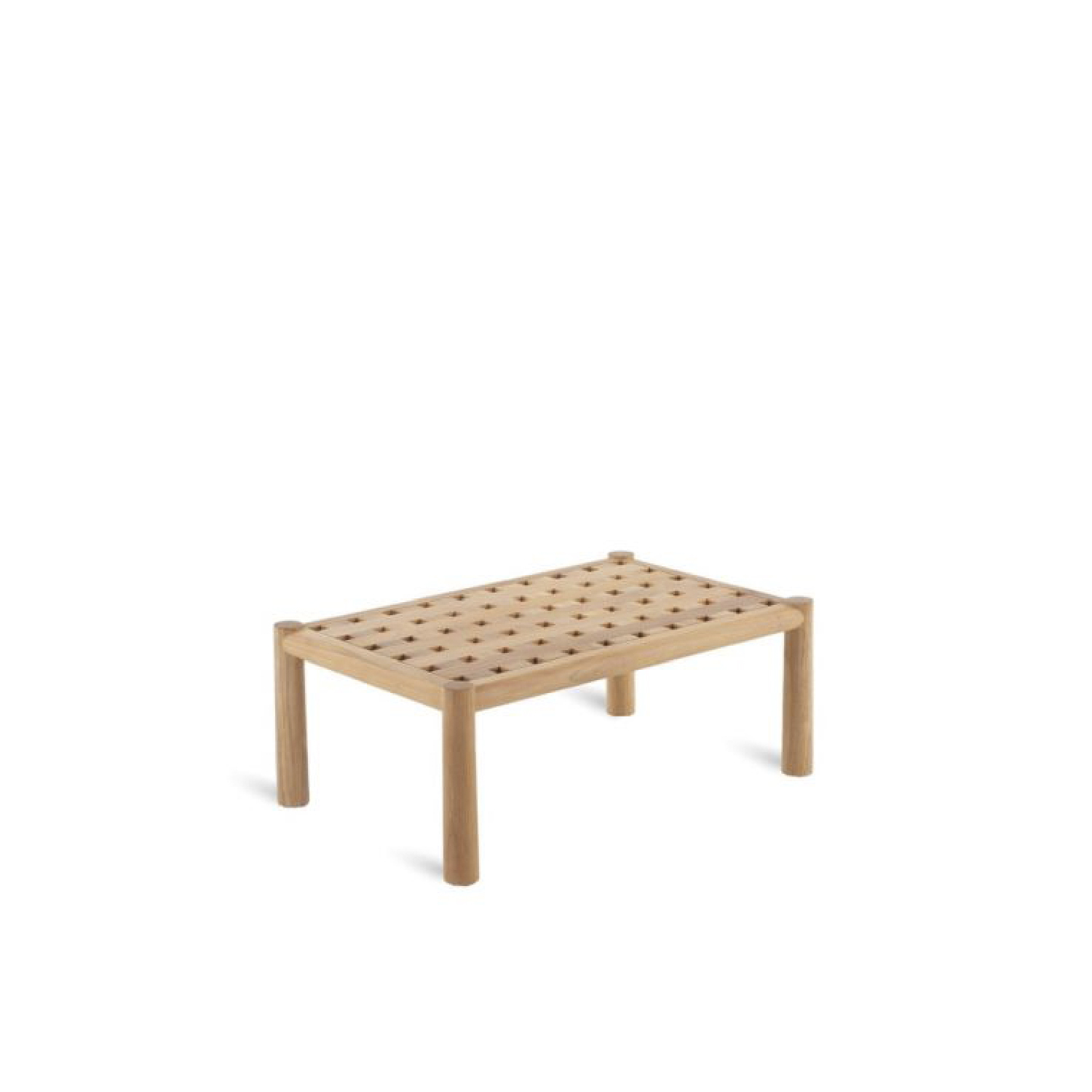 Pevero Rectangular Coffee Table - The new really complete Pevero line exalts all the potential of teak, thanks to its clean essential design that highlights the round section of the wood.  Sofas, armchairs, tables both low and tall of various sizes, three different models of the chair and small armchair that are all well suited to other collections, as well as a sun lounger and a large round island, all characterized by teak worked in soft, rounded, graceful lines that are easy on the eye and guarantee maximum comfort, while tastefully furnishing any outdoor area.  Pevero rectangular coffee table (19.69 x 31.50 H 12.60) Structure in teak | Matter of Stuff