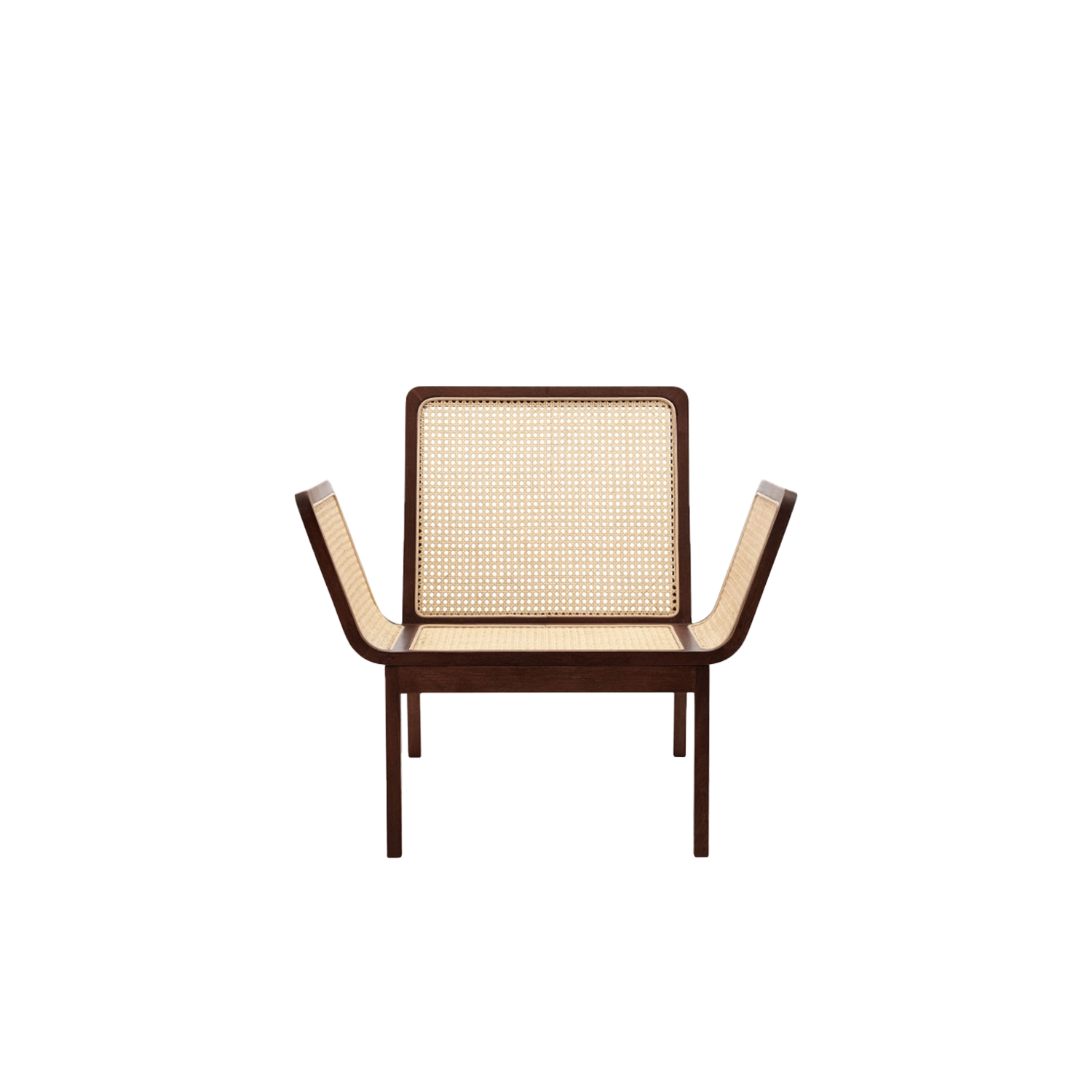 Le Roi Lounge Chair - Le Roi Lounge Chair is made from solid oak with inlaid French rattan. The collection is a minimalistic interpretation of rattan furniture from the French colonial period, merged with well known Scandinavian furniture archetypes. The tactile French rattan creates a translucent surface highlighting the beauty of a simple wooden construction.  The Le Roi Chair comes in Natural and Dark Stained oak with or without a loose seat cushion for extra comfort. | Matter of Stuff