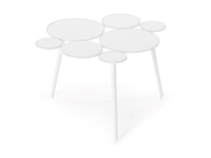 Grace Garden Side Table - Grace is an iron coffee-table, part of homonymous collection.  Our new outdoor collection by Paolo Grasselli is an irresistibly dainty decorative range.  Geometric patterns materialise and metal lines trace circles through the air in an artistic élan that is much more deliberate than first seems.  Metal rings of differing sizes breathe life into a seating collection and accessories where practicality and beauty become one. Empty circles clasp cushioned spheres in a cluster of coloured and transparent bubbles, settling down magnificently into a tub chair, a loveseat, a low table and a pouf. Nascent forms spring up where the concept of a chair has been torn apart and made whole again; yet this time, the distinction between space and matter and object and surrounds has become blurred. Depending on the arrangement of the rings and the positioning of the cushions, different harmonious patterns can be created - the end result will always be strikingly decorative and surprisingly comfortable.    Materials :  Coated outdoor structure with spheres in ø 8 mm solid iron rod, ø 18 mm tubular base, available either in white or grey.  Padded spheres made in Finnish spruce and a seat cushion in contoured rubber are available in a vast array of upholstery suitable for outdoors. Should the furniture be destined for indoors, the choice of upholstery fabrics includes the home collection.  | Matter of Stuff