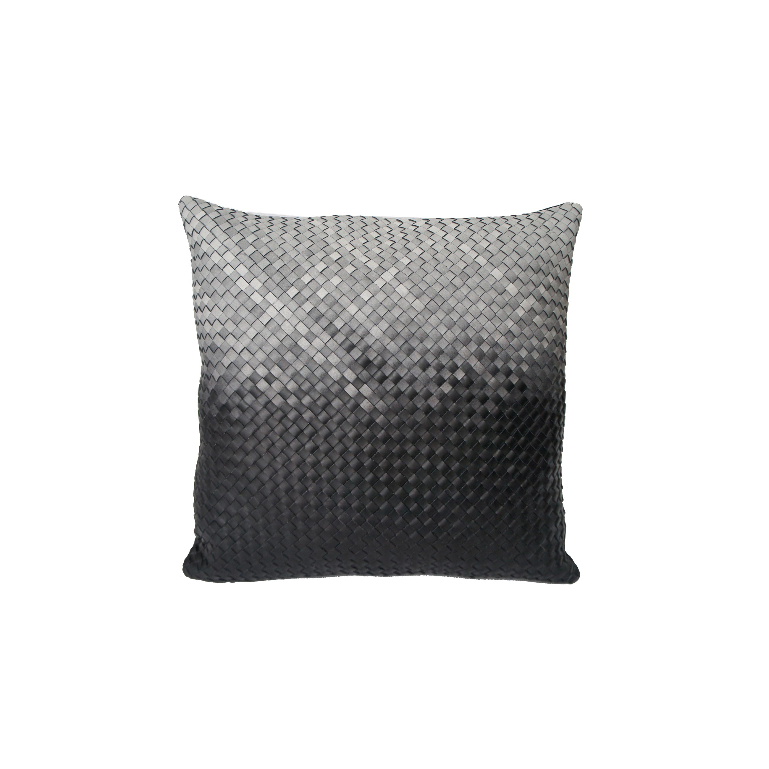 Mosaico Degrade Woven Leather Cushion Large - The Large Mosaico Degrade Woven Leather Cushion is designed to complement an ambient with a natural and sophisticated feeling. The woven handmade leather cushions are specially manufactured in Brazil using an exclusive treated leather that brings the soft feel touch to every single piece. Cushion pads can be customised in a range of ethically sourced feathers, eco-friendly wool and allergy-friendly fibres. The fillings are sourced for their superior quality and properties to make only the finest quality cushion pads.  Elisa Atheniense Home Cushions are sold in pairs only, all cushions are available in two sizesBespoke sizes are also available under project request as well as colours.  | Matter of Stuff