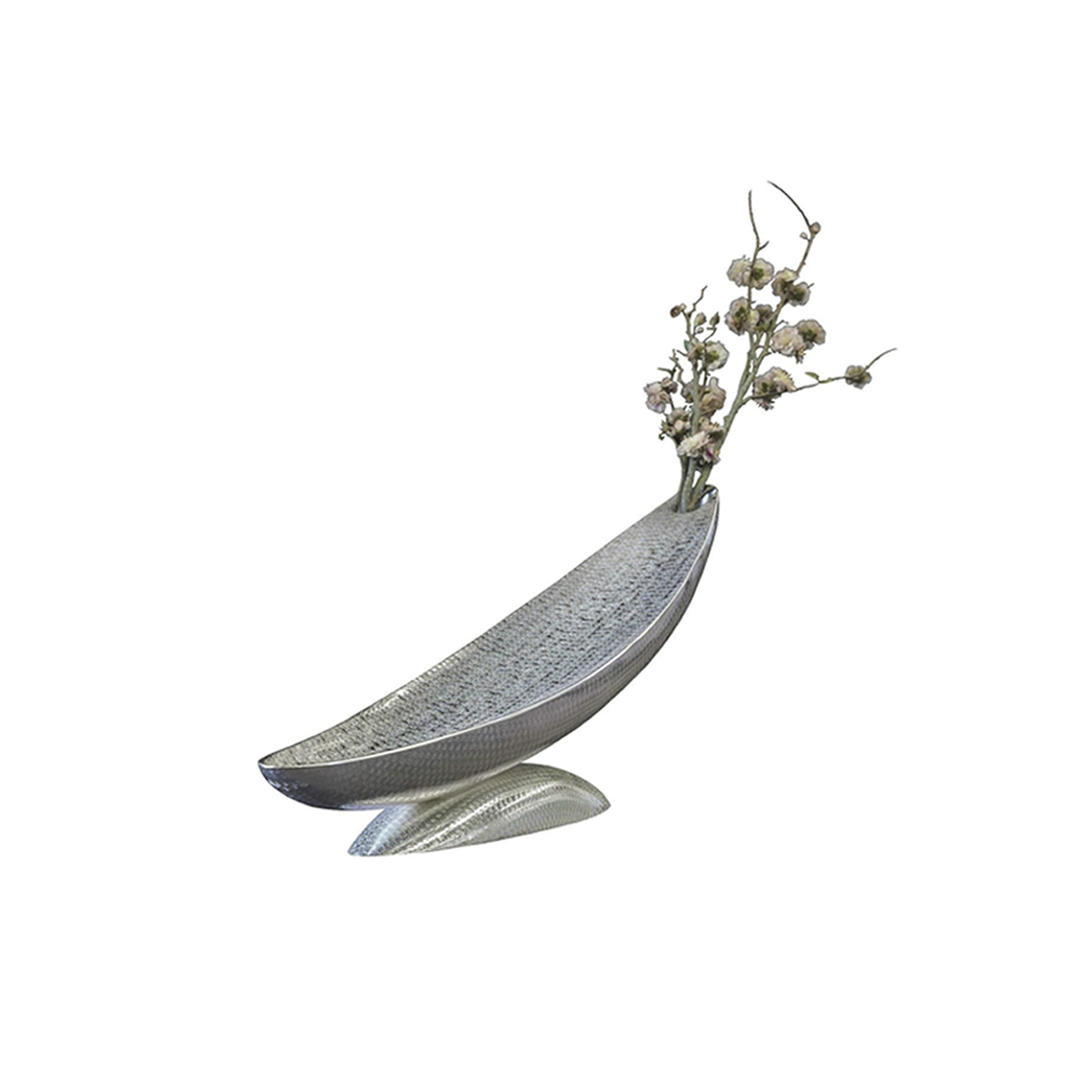 Sleeping Moon Vase Sculpture - This striking vase can double as centerpiece or sculptural decoration, to add modern elegance to an entryway, a living room, or a dining room. Inspired by the moon as seen when rising, its welcoming concave silhouette rests on a semi-spherical base. Both elements are made of silver-plated metal with a unique spiral decorative pattern throughout that reflects the surrounding light in a sophisticated way. The top of the piece features a hole, for cut flowers and other arrangements. | Matter of Stuff