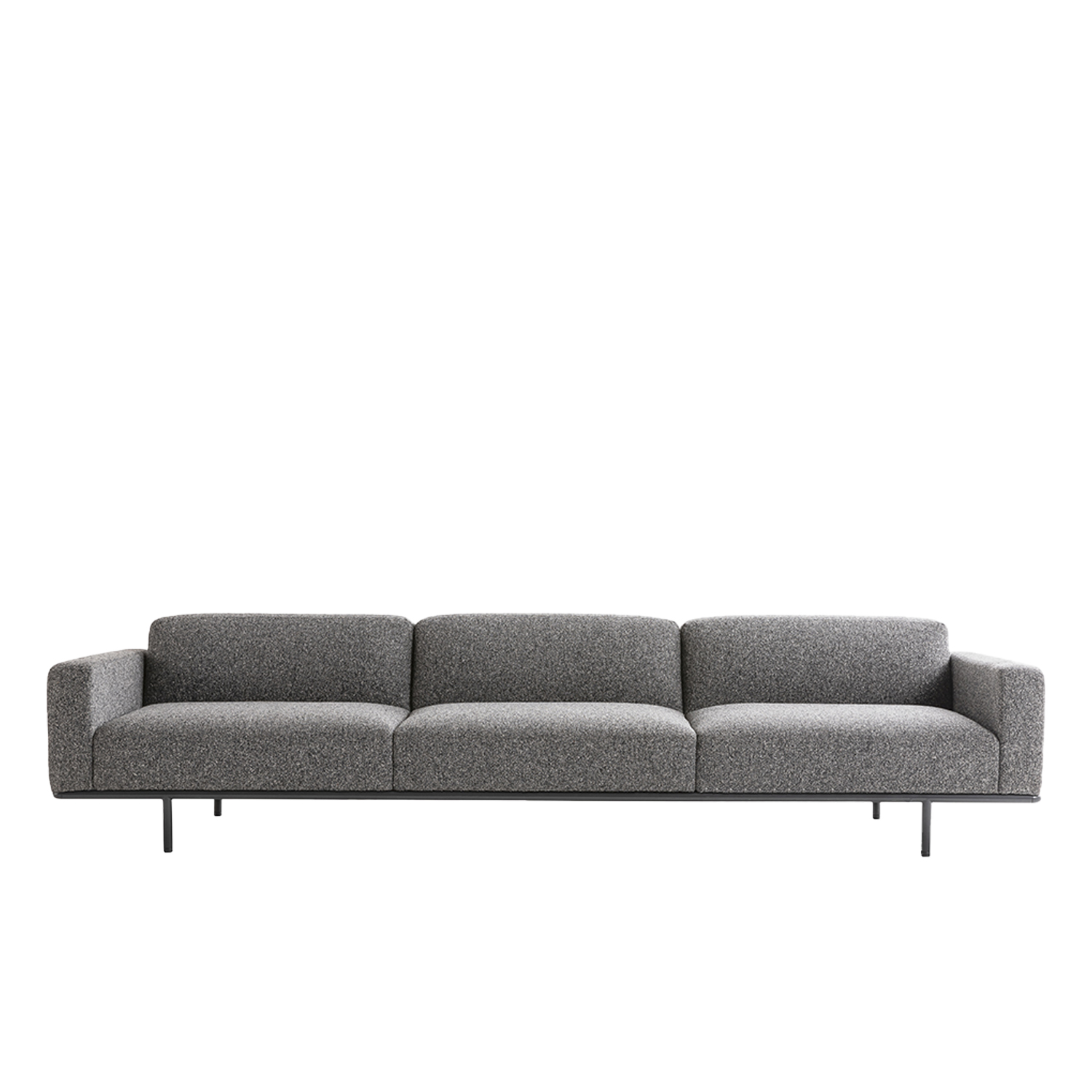 Cap Ferrat Small Three-Seater Sofa with Armrests - Cap Ferrat sofa by Carlo Colombo is the emblem of a new collection marked by a rigorous and virtually atemporal design, capable of maintaining an airy appearance, even in large-scale dimensions.  Cap Ferrat sofas, like the homonymous armchairs, are made of multi-density polyurethane and fiber, a solution that guarantees noteworthy comfort. The multiple finishes of the slender metallic base and the ample upholstery selection (which includes fabric, leather and eco leather) allow for a highly customized collection that is equally versatile in appearance and destination. The light and minimal design – though undisputedly solid and resistant – makes Cap Ferrat sofa the ideal choice for domestic as well as high-traffic Contract settings.  | Matter of Stuff