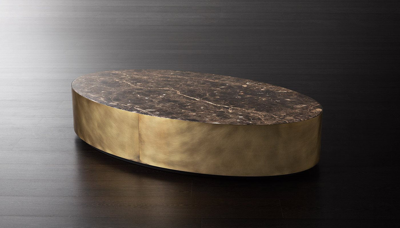 Belt Round Large Low Table - Belt are low coffee tables with wooden structure and bronzed brass perimeter band. The top is available in matt lacquered oak veneer or glossy bronzed marble mirror glass.   Matter of Stuff