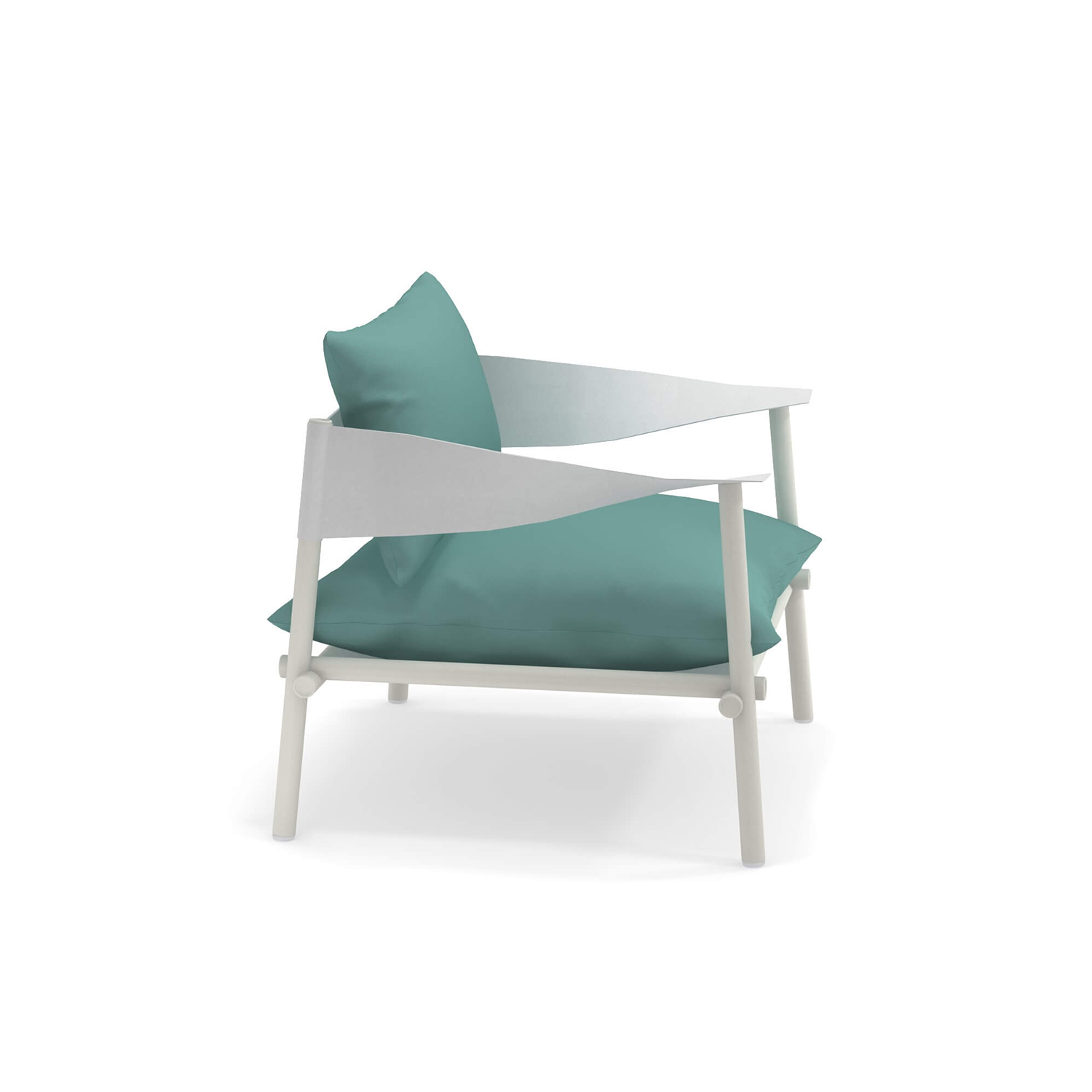 Terramare Lounge Chair - <p>Welcoming shapes and wide dimensions characterise the Terramare collection by Studio Chiaramonte-Marin, ideal for cosy and personal settings both indoors and outdoors. A complete range of furniture for both dining and living areas.</p>This lounge chair has a frame made from aluminium and armrests in eco leather. 