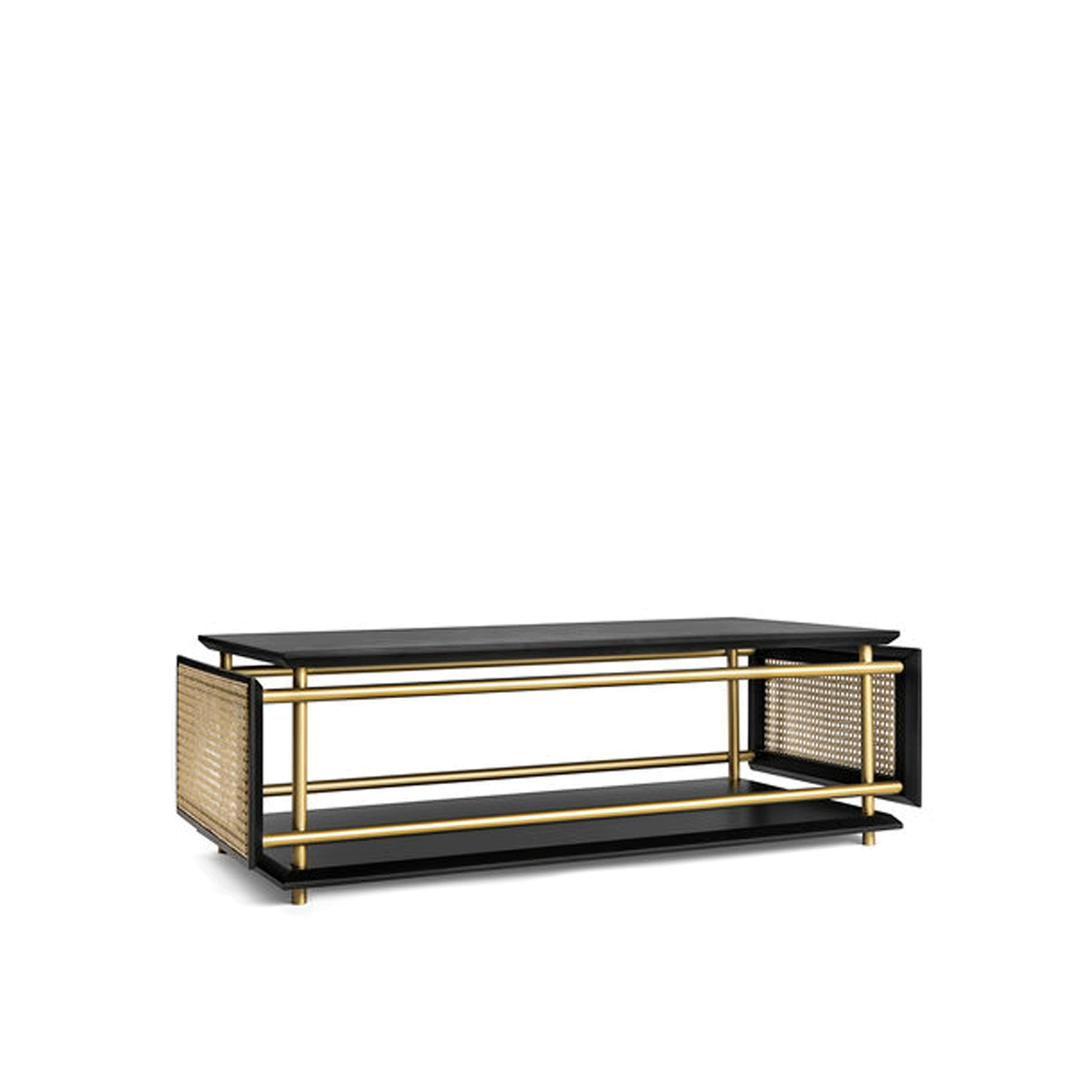 Wiener Box Coffee Table - This coffee table is part of the Wiener Box collection, comprising tables distinctive for their combination of modern elements, traditional materials, and a bold design. The sides of the piece are covered with Viennese straw, synonymous of the Viennese bentwood style, while the structure mixes the essential lines of the metal structure with a frame of wood and enamel-finished top.