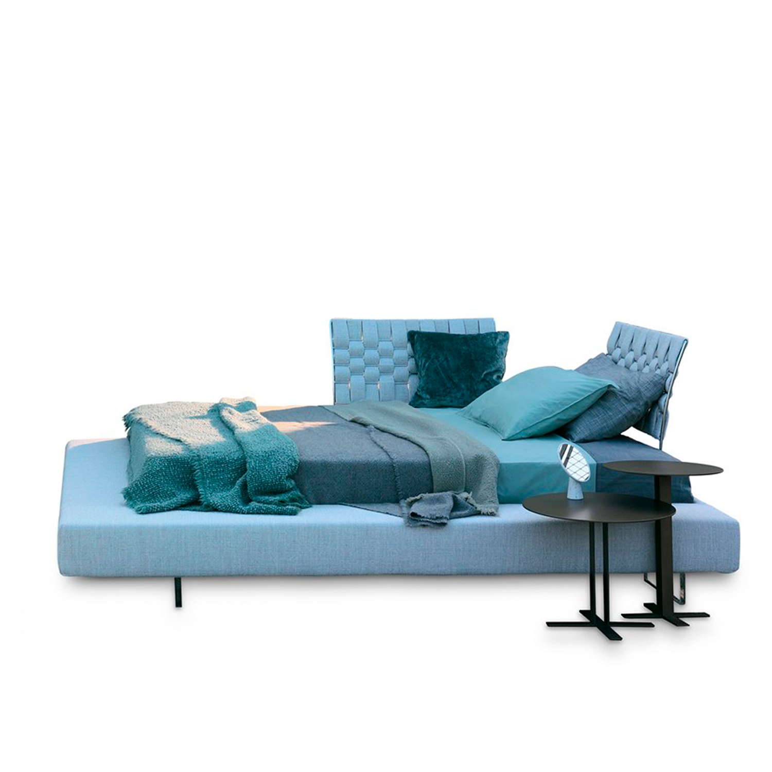 Limes Large Double Bed - Limes Large is the most generous option within the Limes collection, thanks to the two wider sides that allow for a functional and unusual support. The rectangular feet in transparent methacrylate onto which the base is rested, make the bed appear to float.  This item is available in different sizes and with different upholstery and base options which will affect the price. Please enquire for more information and prices.  Materials Structure includes the bed base with wooden slats. Bedframe is in wood padded with polyurethane foam covered with velfodera on a polyester fiber coated backing 150gr/sqm. The headboard supports are in metal with glossy chromed finish and bands of fabrics coupled with pressed 300gr/sqm.  Feet:14 cm high, in transparent methacrylate with rectangular section. | Matter of Stuff