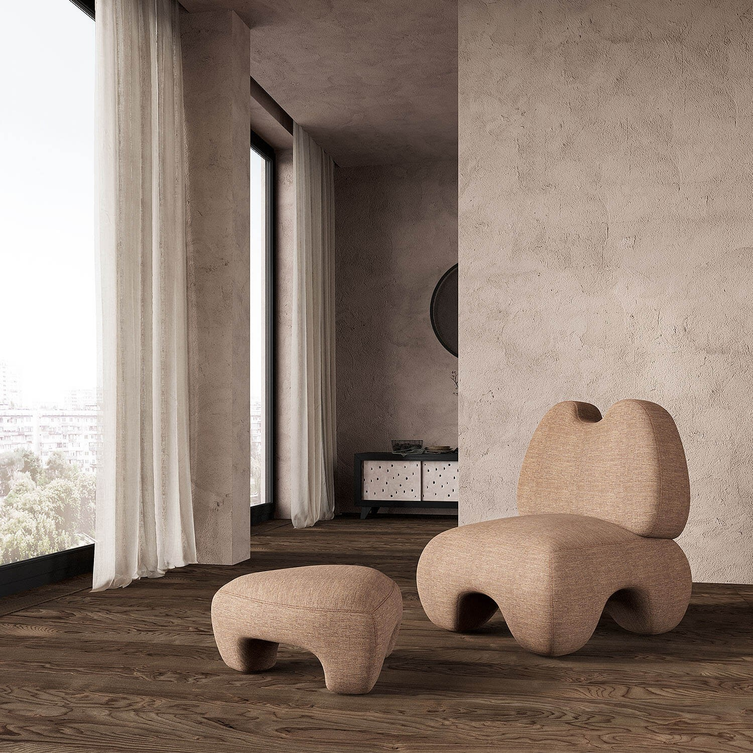"""Domna Ottoman - """"Domna"""" in ancient Ukrainian means home-maker, goddess of welfare. Domna Ottoman is a new design piece with soft exterior and at the same time hawkish temper that tends to be the mistress of any space. 