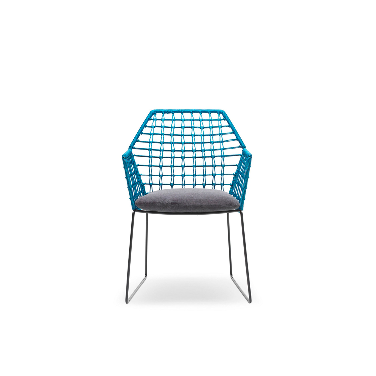 New York Soleil Chair with Armrests - New York Soleil is a garden chair with armrests in removable fabric, part of the homonymous collection.  The New York Soleil outdoor collection is a line of exclusive woven seating made entirely by hand. New York Soleil is the product of careful research into materials and the desire to maintain the unique original design. Woven nautical cords of different colors softly cover the painted metal rod structure. The ergonomic cushion is covered in a quick-drying, non-absorbent technical fabric, and its superior performance in the Martindale test guarantees abrasion resistance as well as hygienic breathability. In 2020 the collection adds a new element: the Lounge Armchair.  New York Soleil embodies outdoor living with a casual style and colorful charm. It is available in different blends and solid colors. The collection includes a sofa, a lounge armchair, an armchair, a pouf, a chair with or without armrests and a stool. Fully removable covers.  Additional removable cover is available, please enquire for prices.  Structure Material: White or Black Outdoor Painted Finish Materials Structure in 16 mm wire drawn for lounge armchair; in 12 mm wire drawn for sofa, armchair and pouf; in 11 mm wire drawn for chair with or without armrests and for stools. For all elements, structure is covered with plaiting of 4 mm diameter of polyester ropes. For sofa, armchair, chairs and stools, seat cushion is filled with a special 30 water-draining polyurethane, covered with polyester fiber 300gr/sqm on 100% polyester lining. Lounge armchair's seat cushion is made with flexible glass fiber slats inserted in the core of variable density polyurethane foam, covered with 600 gr/sqm polyester fiber and clothed with water-repellent heat-sealed fabric. Back and arm rests cushions are in polyester fiber in TNT fabric cover, clothed with water-repellent heat-sealed for fabric provided with a breathable band. | Matter of Stuff