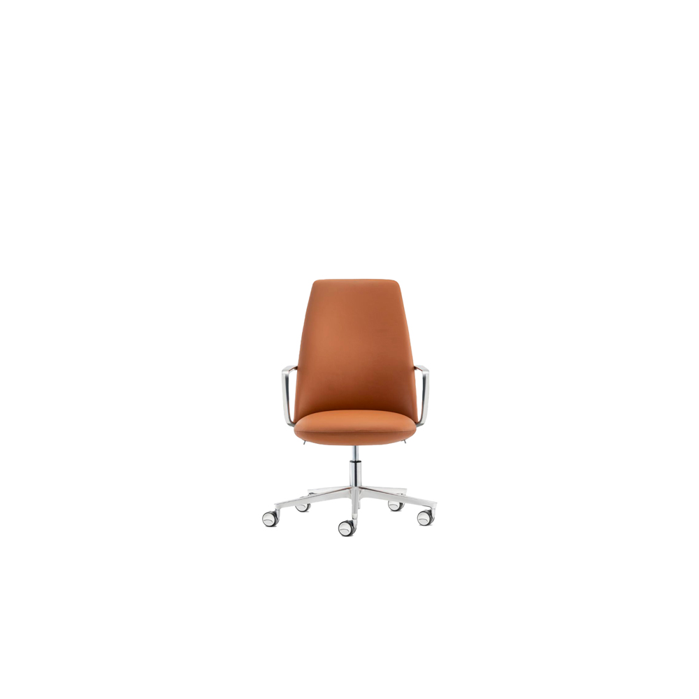 Elinor Executive Chair - The executive chair Elinor incorporates the different attitudes and approaches to office life looking to the future. Comfort and body-hugging feeling, thanks to the polyurethane injected foam seat and back, are its strong points. A weight-activated synchro-tilt mechanism integrated in the upholstered seat allows the tilting to be self-regulated according to the user's body weight, ensuring that the back is kept in the most comfortable position. A light, slimline, strong armrest in die-cast aluminium defines the base of the backrest with its flowing line. | Matter of Stuff