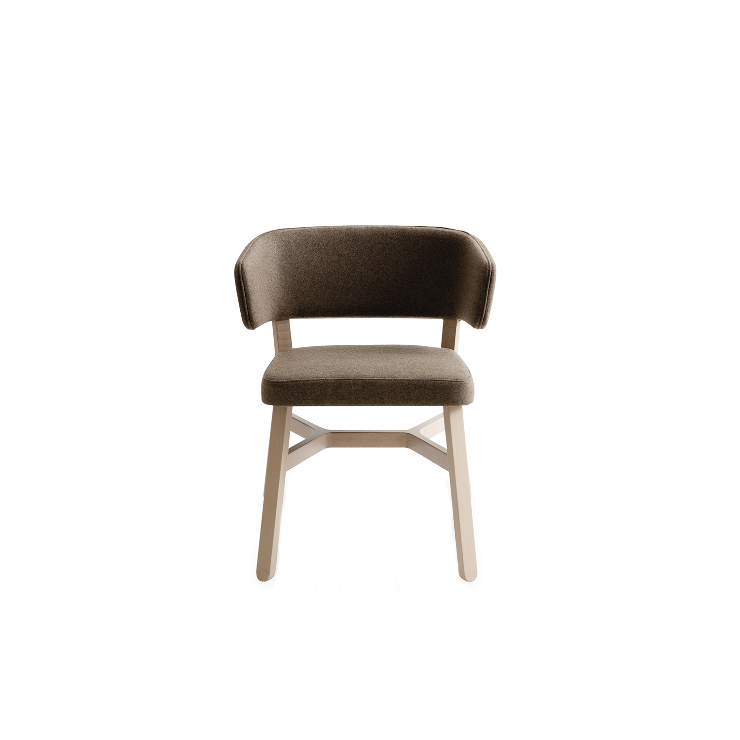 Croissant Armchair - Side and armchair in stained or lacquered beechwood, with upholstered seat and back. A crucial thought. A refined sense of belonging unites the entire Croissant collection, a recurring design, the crosspiece which distinguishes all the seating, as well as the tables. Chair, armchair, lounge chair, stools, sofa, pouffe and benches in stained or lacquered beechwood, with upholstered seat and back. Tables with frame in stained or lacquered beechwood and top in lacquered or laminated mdf or compact laminate.  | Matter of Stuff