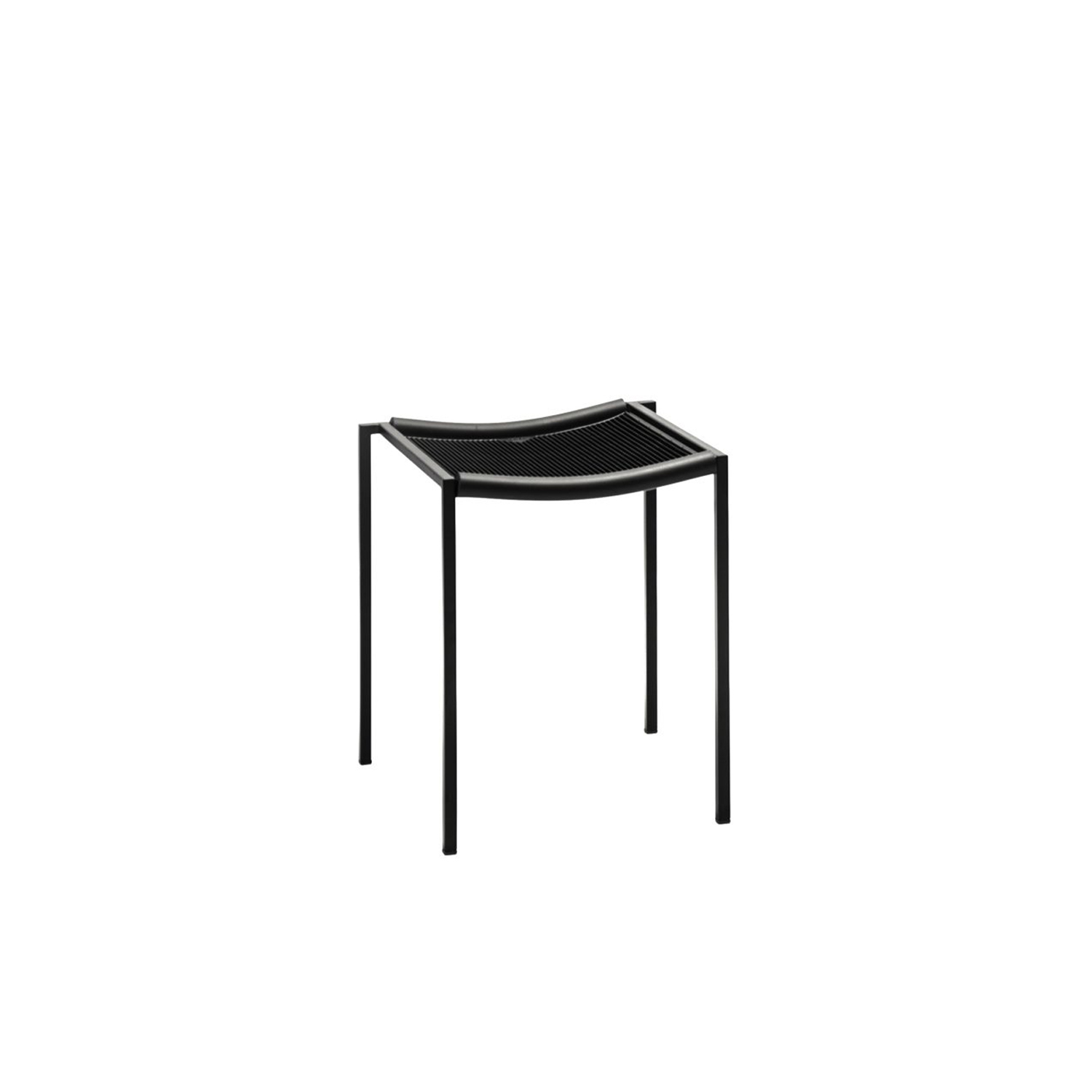 Sgabello Basso - The Sgabello Basso is the smaller variation to the Sgabello Alto. This stool was also designed in 1984 by Maurizio Peregalli. This elegant and functional stool has many of the same materials and finishes as the Alto. It features a steel tubular frame epoxy painted in semi opague black and the seat is crafted in thousand points rubber with black extruded rubber. This stool is also stackable.   | Matter of Stuff