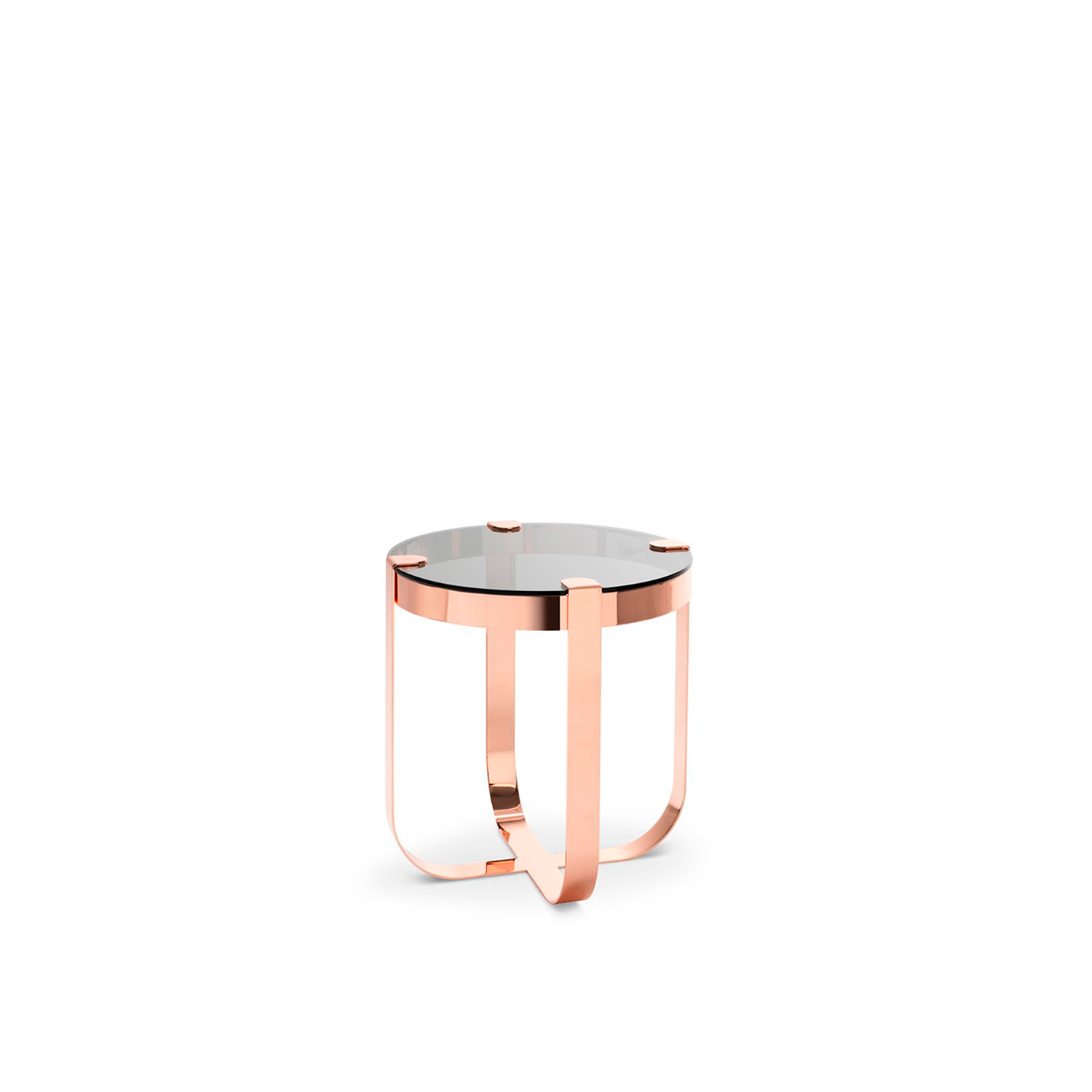 Ring Round Coffee Table - Elegant like jewellery, the Ring coffee tables are inspired by raw cuts of precious stones prior to being mounted into rings. The choice of materials is aimed to emphasise this inspiration behind the collection. The metal base structures are available in copper, brass, steel and nickel, each of which corresponds to a geometric form. Like in jewellery design, the glass tops in transparent or light colours are literally set onto the base structures.  Finishing: Round coffee table polished copper structure - smoked glass top; Square coffee table satin finished brass structure - extra clear glass top; Octagonal coffee table black nickel structure - bronze glass top; Oval coffee table clear chrome structure - sea water glass. | Matter of Stuff