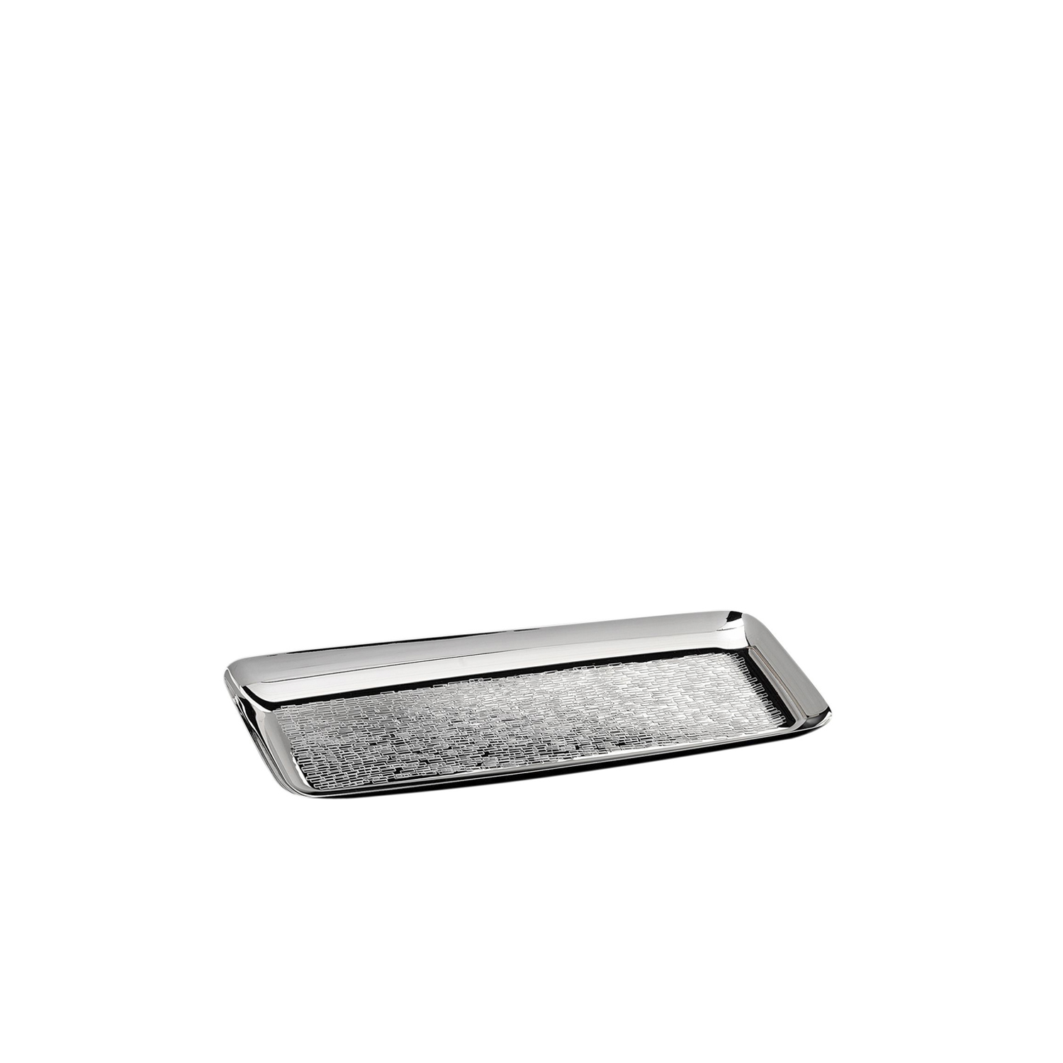 Tango Rectangular Plate - Finely decorated small rectangular tray in plus plated. The surface made tangible by the special hand-crafted texture that enhances the ductility of silver and its infinite tones. | Matter of Stuff