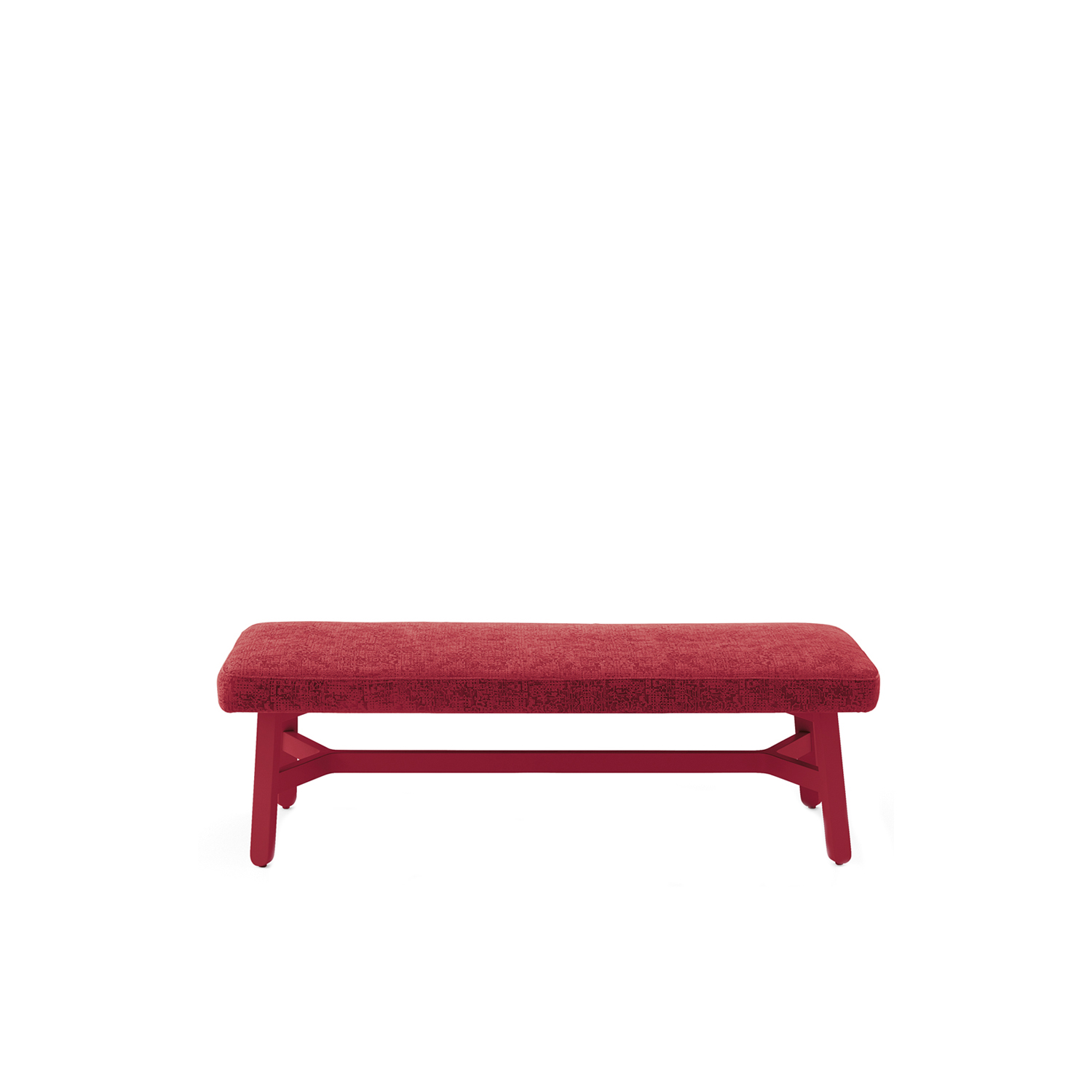 Croissant Upholstered Large Bench - A crucial thought. A refined sense of belonging unites the entire Croissant collection, a recurring design, the crosspiece which distinguishes all the seating, as well as the tables.Chair, armchair, lounge chair, stools, sofa, pouffe and benches in stained or lacquered beechwood, with upholstered seat and back. Tables with frame in stained or lacquered beechwood and top in lacquered or laminated mdf or compact laminate.  | Matter of Stuff