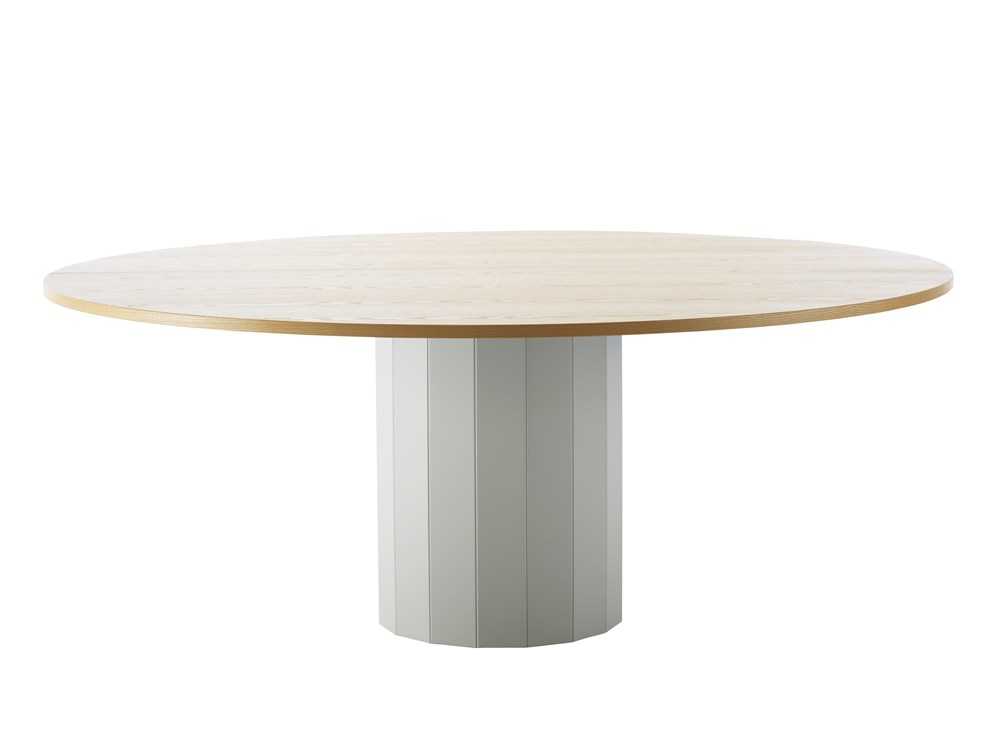 CAP Table - The inspiration for Cap table (2014), comes from those big wooden cable drums. Its name, however, is an allusion to the cap of a mushroom, as these tables can spring up like mushrooms in different sizes, heights, colours and variations to create all sorts of lively and highly individual settings. The hollow pedestal is made of solid wood and the tabletop comes in a choice of veneer or solid oak, birch, ash, standard colors, standard stains on ash and white glazed oak or ash.  Top is also avaiable in laminate (white, black, oak, birch, ash) and black desktop. For stained finishes, we recommend a veneered top. Accessories different cable slots which can be mounted on table top or pedestal. Cap is an ideal solution in settings where durability is a key concern. The stability and balance of the construction is achieved by adding just the right amount of stone dust inside the pillar, according to the size and diameter of the tabletop.  Please enquire for more details and configurations. | Matter of Stuff