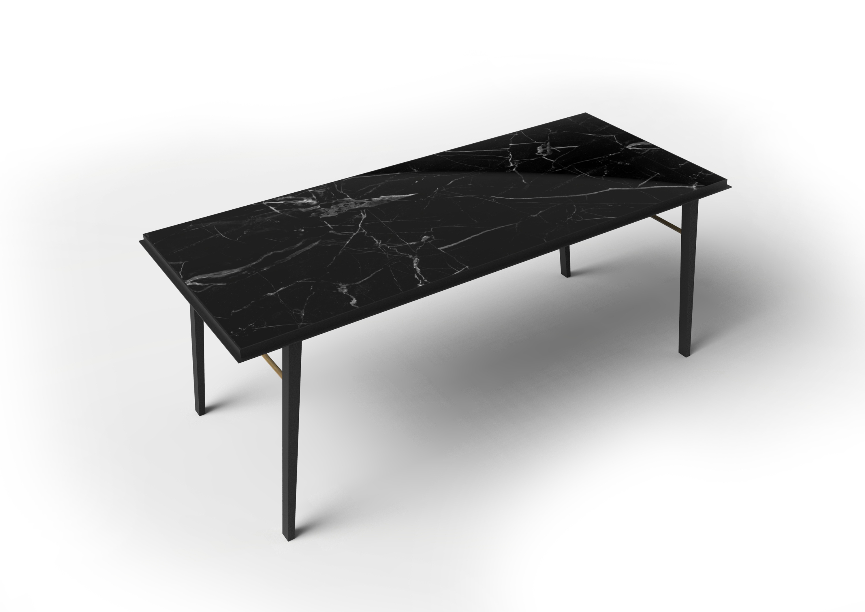 Aes Desk - <p>This unique desk consists of a metal collar with nero marquina marble top. The frame is made from black powder-coated steel. Brass elements emphasise the elegance and exclusivity of the design.</p>  | Matter of Stuff