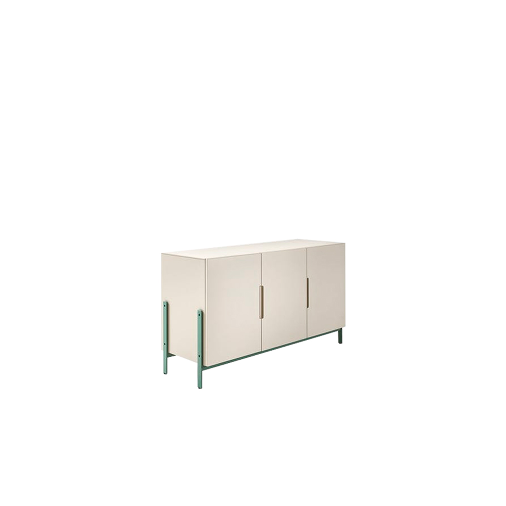 Float Tall Sideboard - The Float sideboard plays with the concept of support and storage: the base becomes a design element to be shown off to full effect, putting its function in clear view. The sideboard comes in three versions – square, tall rectangular and low rectangular with two, three or four doors – and in any of the matt or oxidized lacquered colours; the base also comes in the metal lacquered finish for an extra charge.    | Matter of Stuff
