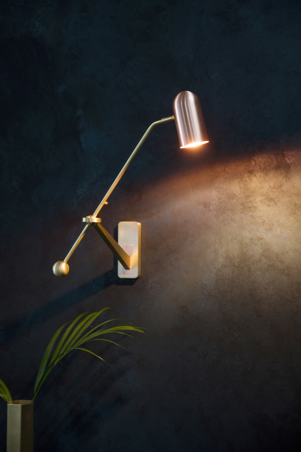 Stasis Wall Light - <p><span>Form meets function in the striking Stasis Wall Light. A mix of metals, this eye-catching design features a solid brass back plate with a copper insert and adjustable arm and copper shade.</span></p>  | Matter of Stuff
