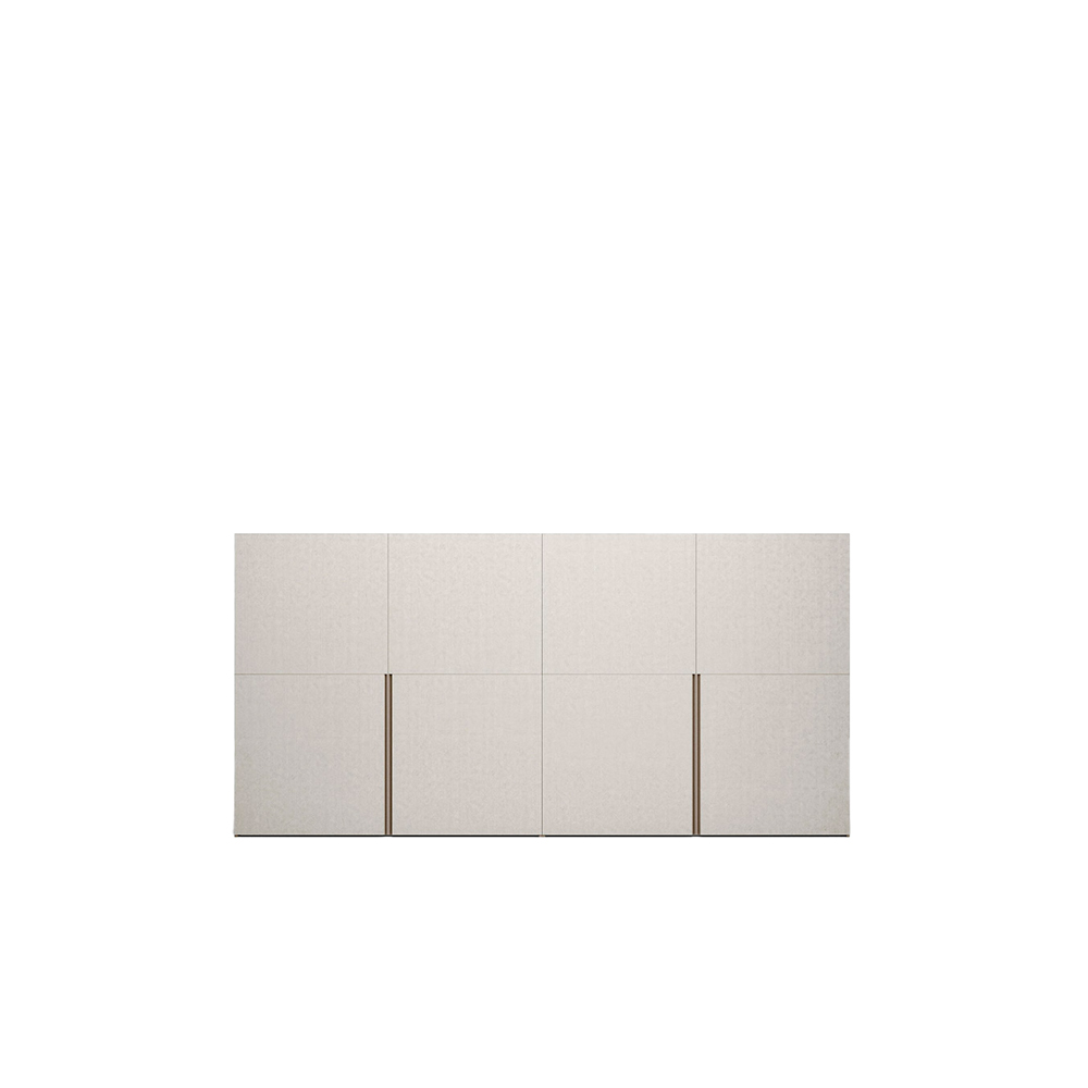 Picture Flush-Closing Sliding Door Wardrobe - Picture stands out for its distinctive vertical profile, which can be finished in a choice of tone-on-tone matt lacquered colours or in a colour contrasting with the doors, which are available in matt lacquered, eco-wood, foil-wrapped, decor and super-matt finishes. A visually appealing detail that is also practical as it makes for simpler and more effective opening. | Matter of Stuff