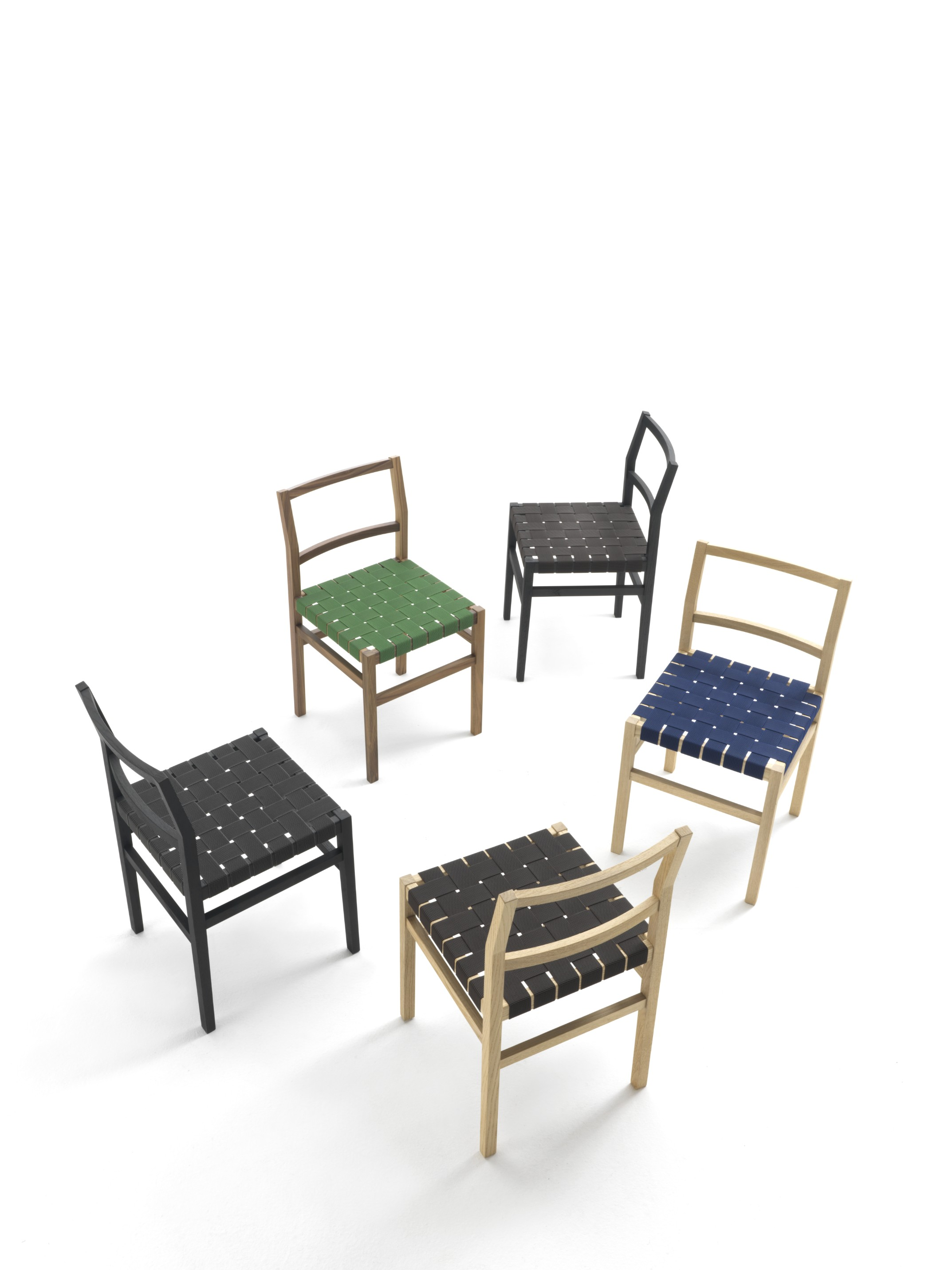 Cross Chair - From Moltenimobili / Durame's Historical Archive, a family of seats whose lightness and versatility characterise a structure made of solid Wood and technical woven. | Matter of Stuff