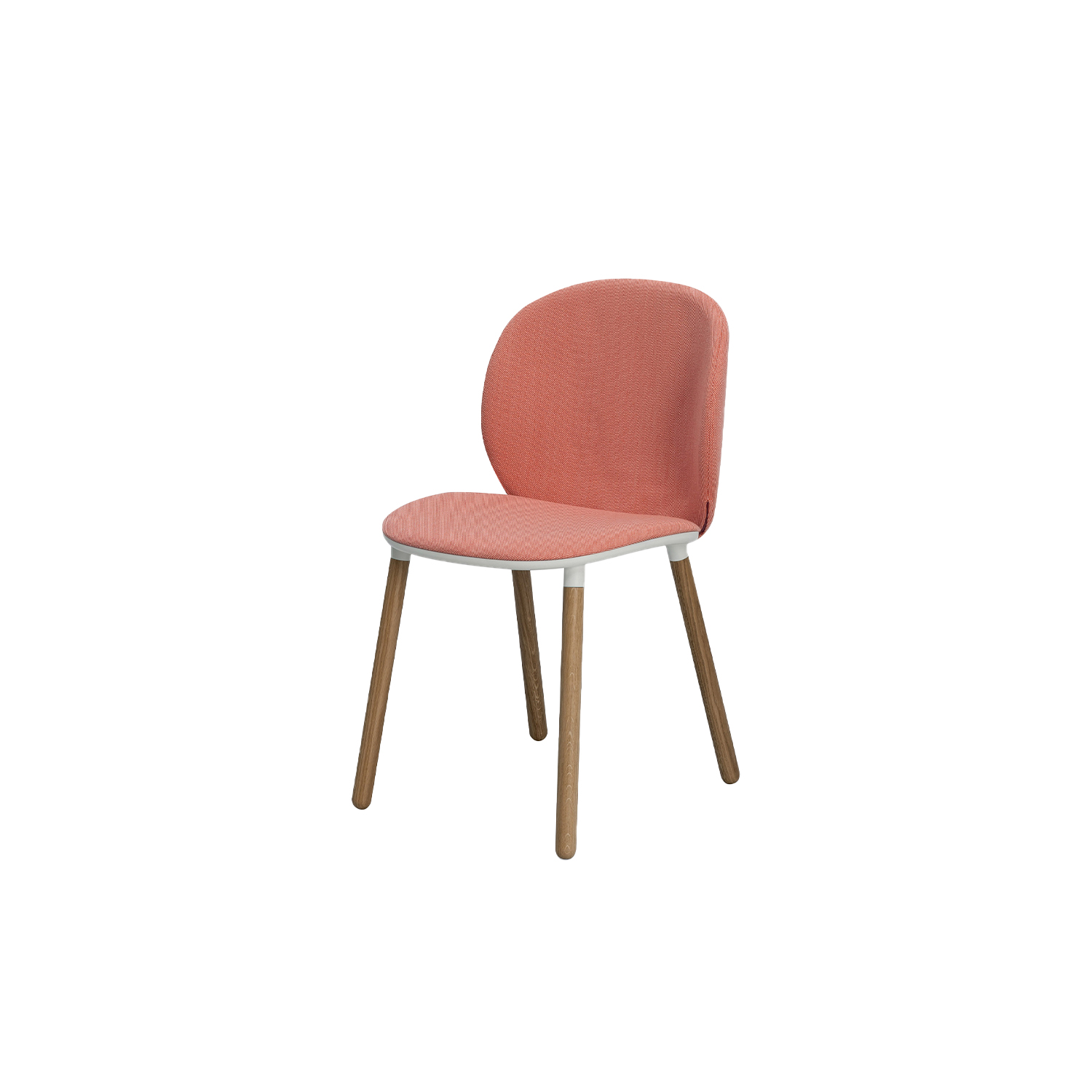 Dua Chair with Wooden Base - The Berlin-based studio Läufer & Keichel has created a chair and an armchair for Kristalia with soft, embracing lines. The name recalls the number two, which recurs throughout the design project starting with the two elliptical surfaces of the seat and backrest, which sensually revolves around the seat. Available with a slide-frame base or with four solid wood legs, the chair and armchair can be upholstered with the fabrics and leather in the catalogue, with the option of different upholstery for the seat and backrest to create contrasting or matching combinations. | Matter of Stuff