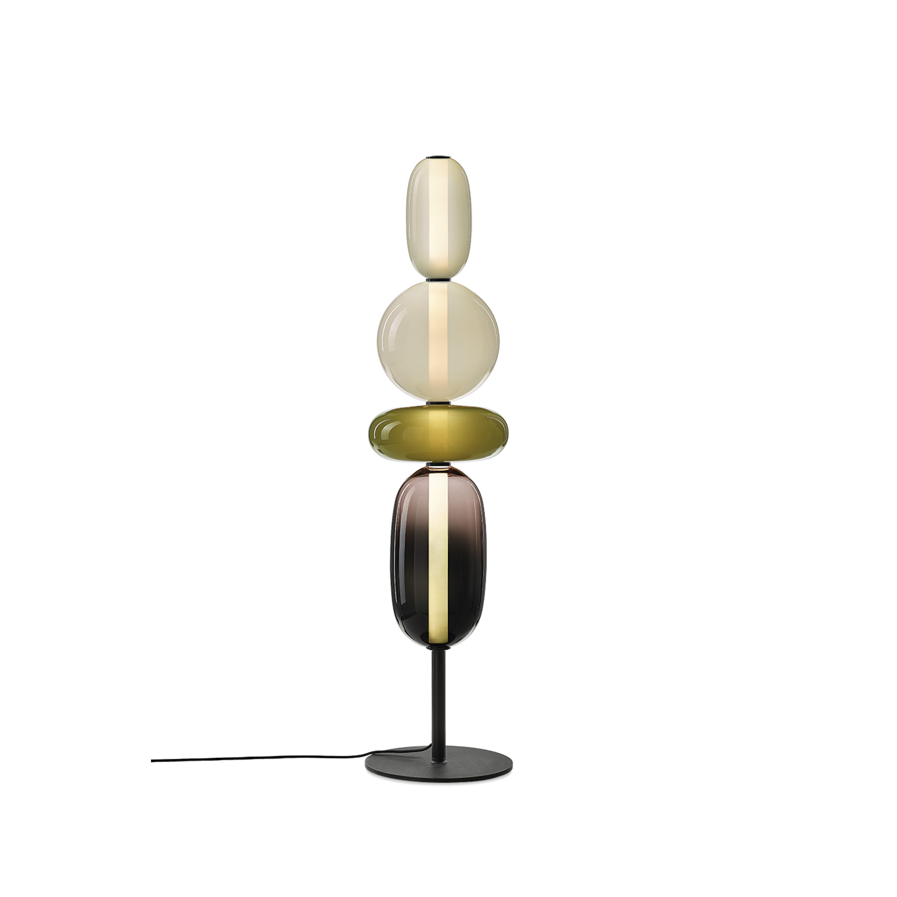 Pebbles Long Floor Lamp - Keepsakes of treasured memories. Smooth pebbles from summer beach, or as a reminder of someone special. Their diverse shapes and colours inspired this lighting collection that lets you create distinctive combinations. String the hand-blown glass elements just like colourful beads, connected by their interior light source. The glass parts of Lens are hand-painted thus the intensity of colour may slightly vary. Available in 5 different configurations.  | Matter of Stuff