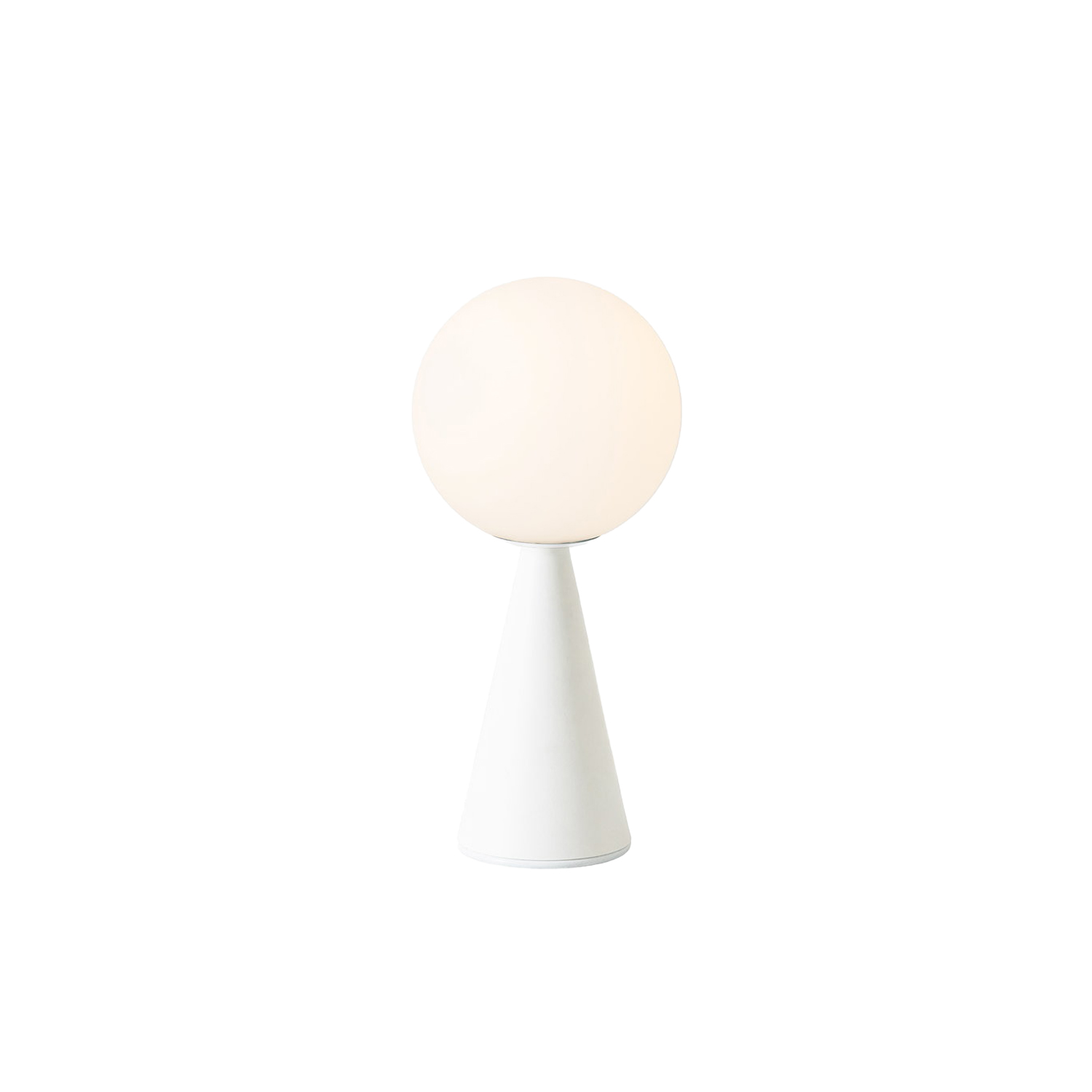 """Bilia Mini Table Lamp - Nothing more than a sphere, set in an apparently impossible feat of balance, upon a cone that serves as the base. One of Gio Ponti's many compositional magic tricks, designed in 1932. The counterbalancing of two elementary geometric forms results in an original, perfectly proportioned object. An unpretentious composition, enriched by the extraordinary balance of its proportions and the stylish discretion of non-reflective materials.The light is diffused and valorized by the geometrical simplicity of the design. In designing Bilia, Gio Ponti imagined a smaller version in a range of """"spray colours"""". From those handwritten notes of the original project, FontanaArte presents Bilia Mini in new breathtaking chromatic variations. 